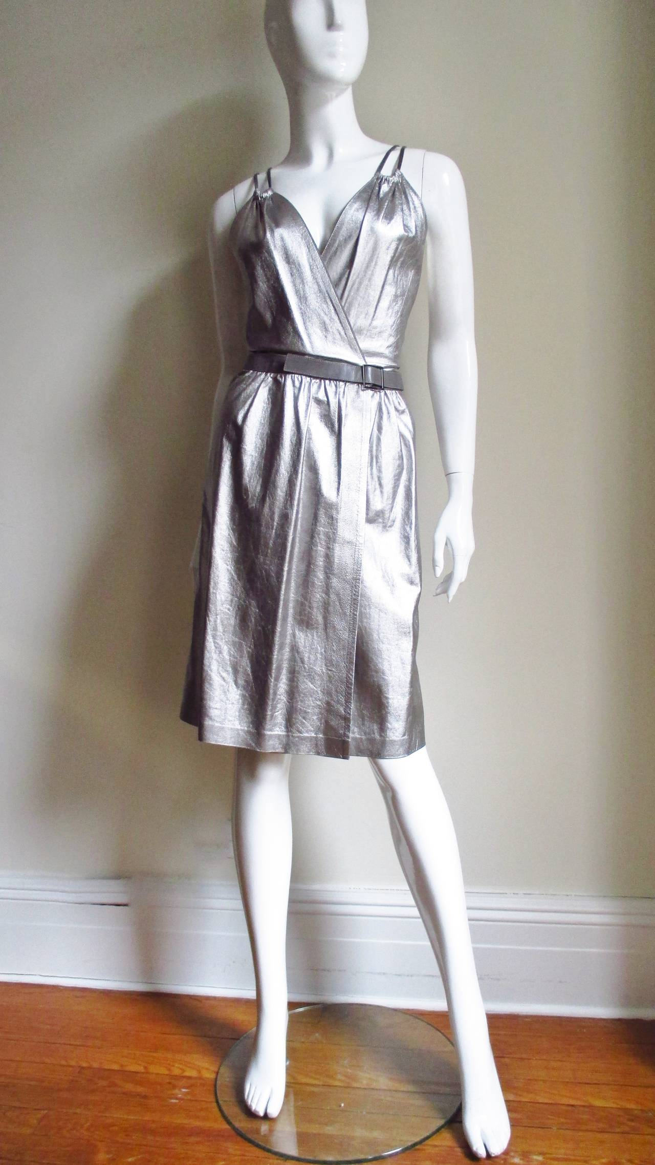 Tom Ford Gucci Silver Leather Backless Wrap Dress 4