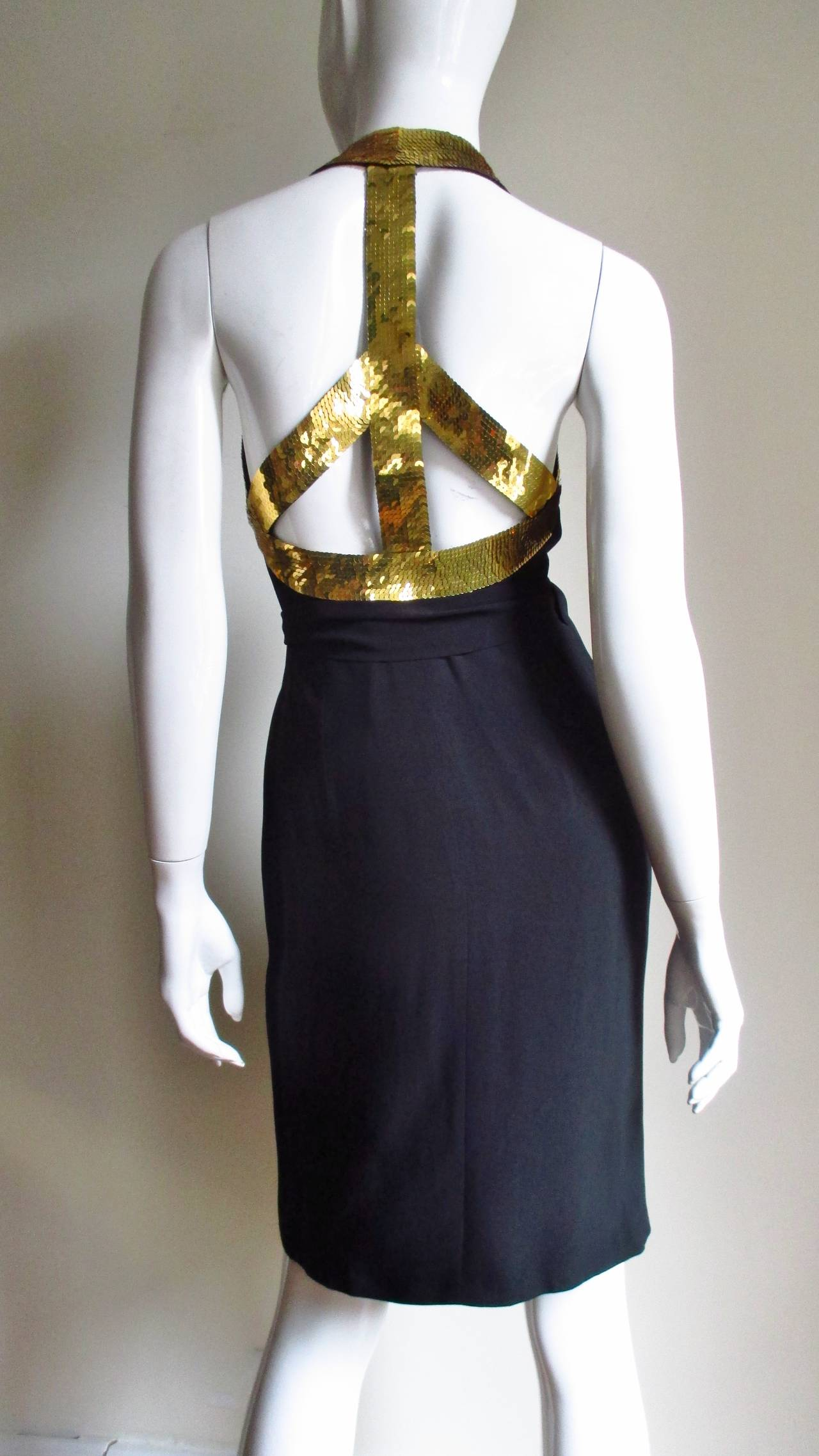 1990s Moschino Couture Gold Sequin Peace Sign Dress 7
