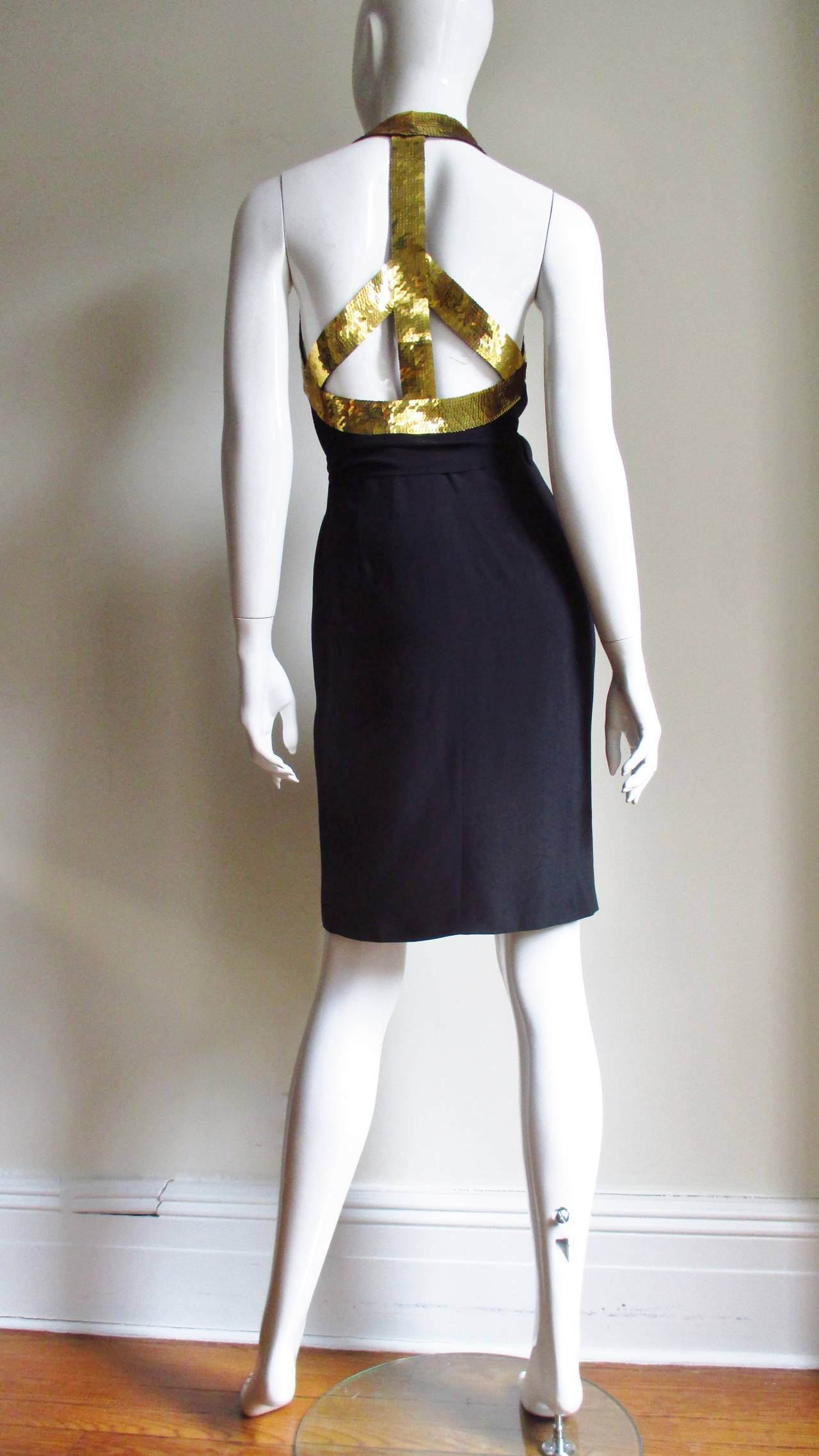 1990s Moschino Couture Gold Sequin Peace Sign Dress 9