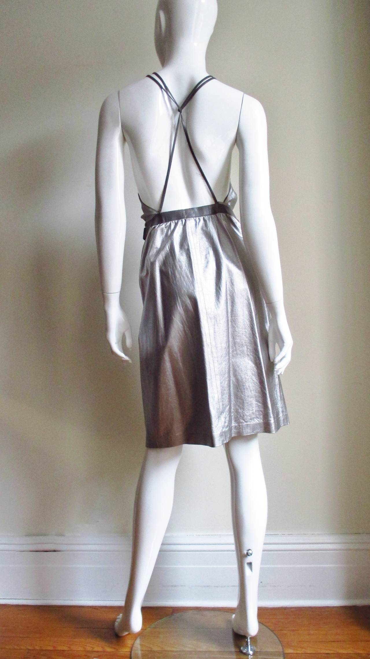 Tom Ford Gucci Silver Leather Backless Wrap Dress 7