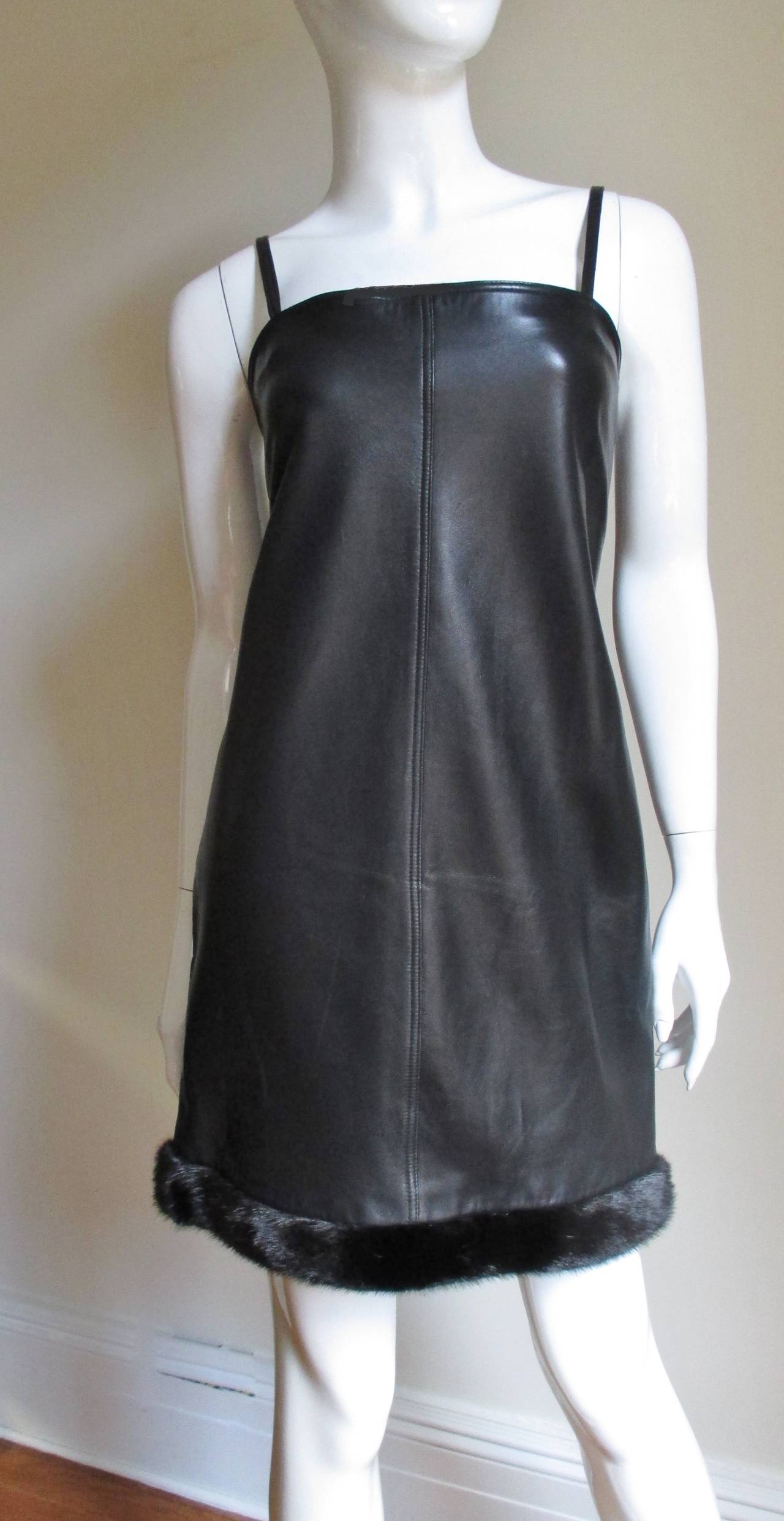Vintage Gianni Versace Leather Dress with Mink Trim 4