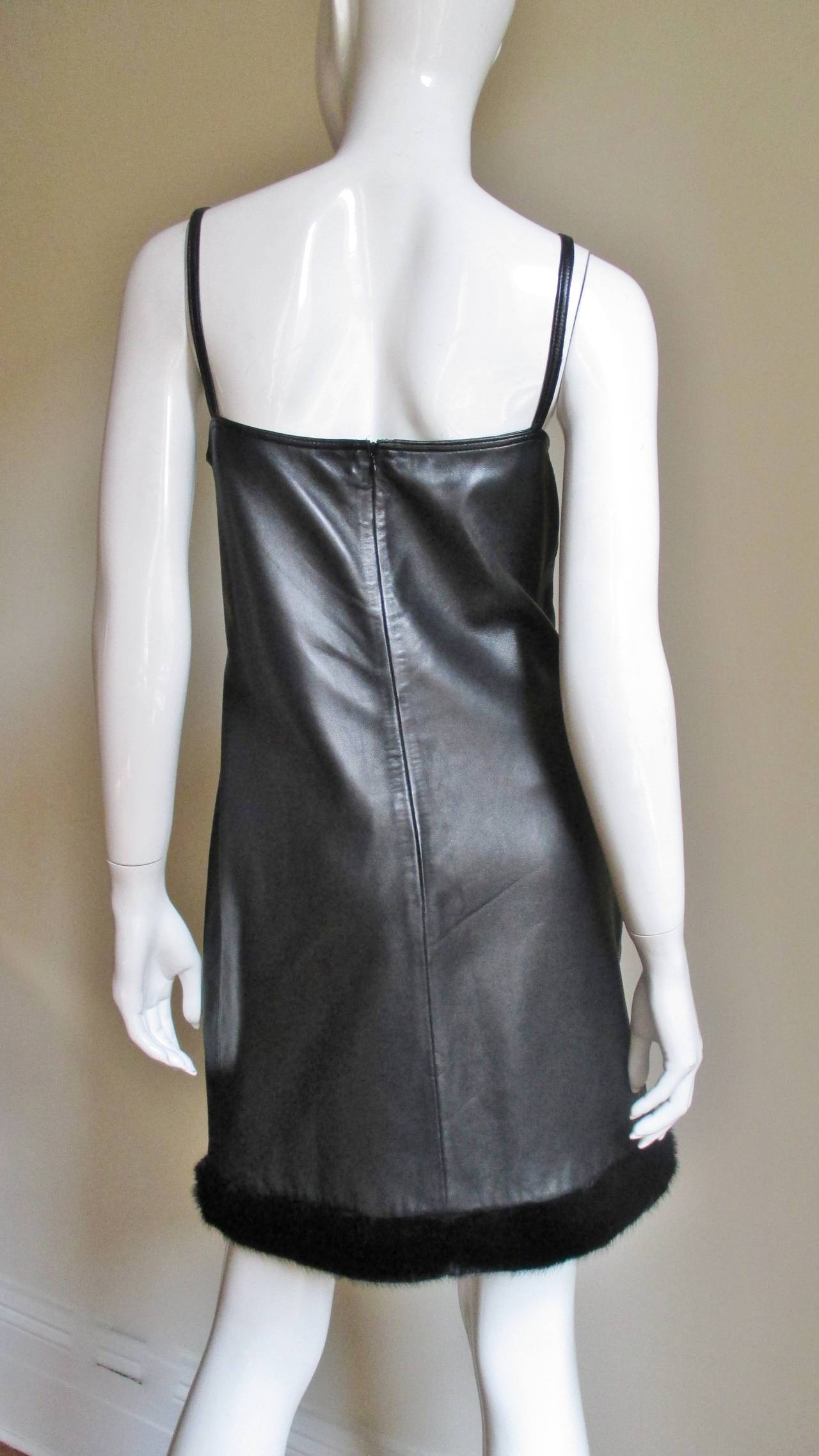 Vintage Gianni Versace Leather Dress with Mink Trim 6
