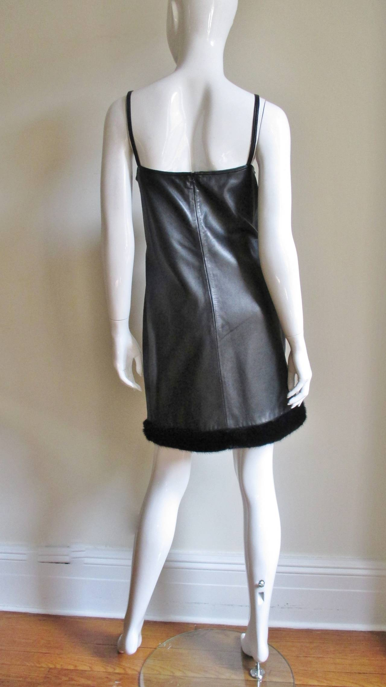 Vintage Gianni Versace Leather Dress with Mink Trim 9