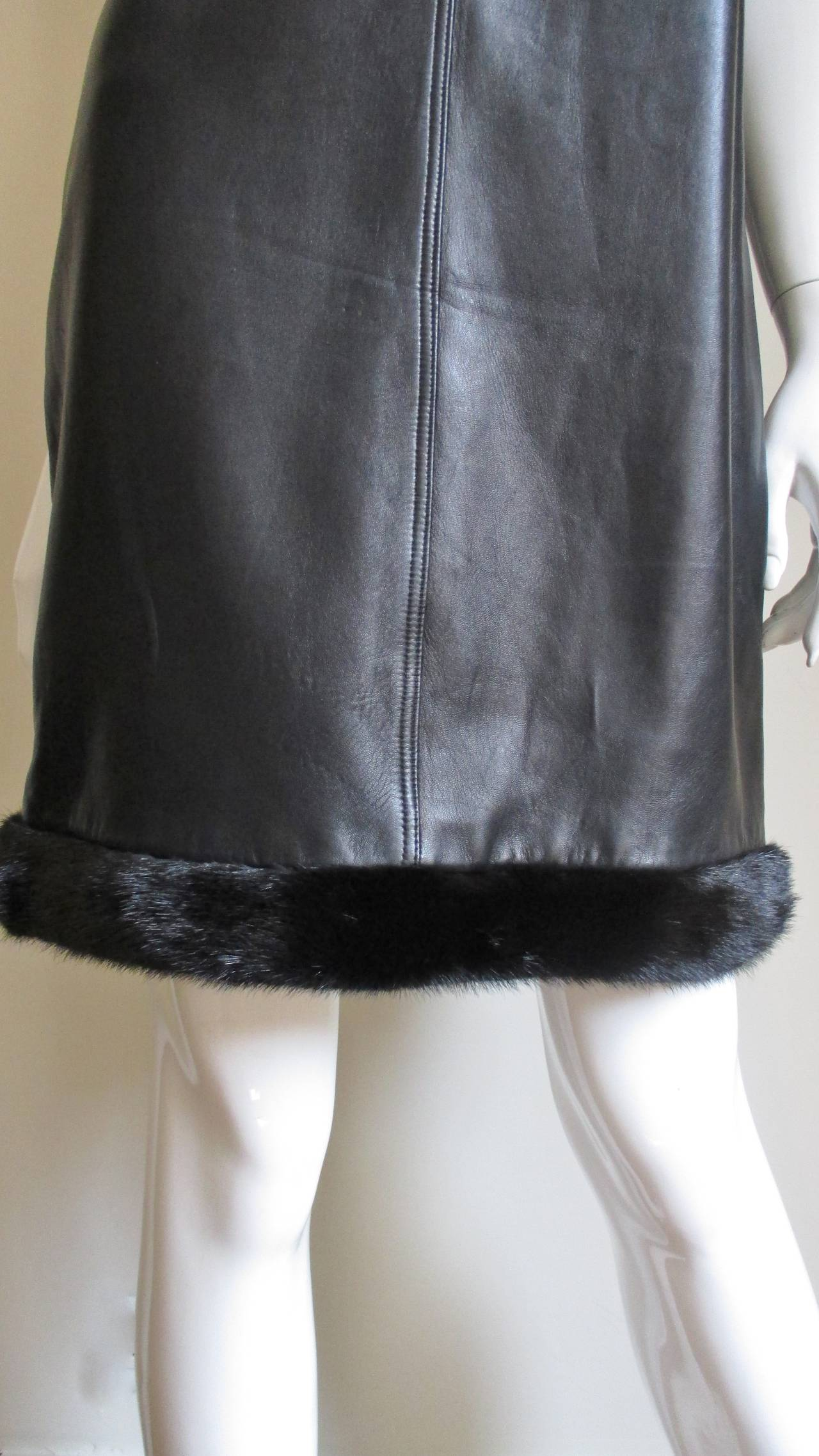 Vintage Gianni Versace Leather Dress with Mink Trim 3