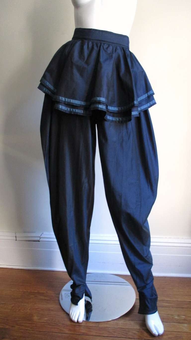 Black  1980's Dramatic Gianni Versace Silk Pants For Sale