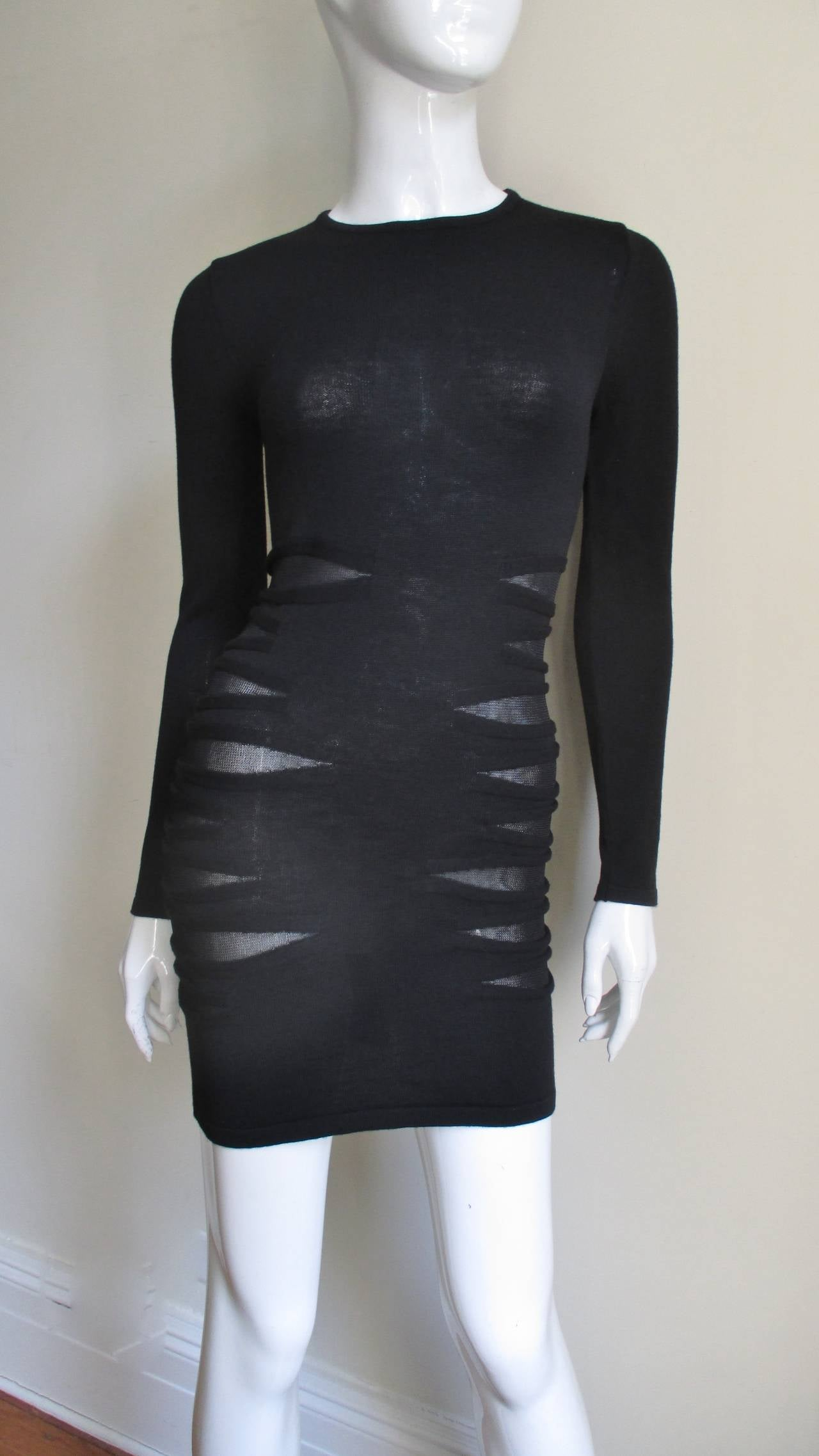 Women's Versace Knit Dress With Mesh Cut-outs For Sale