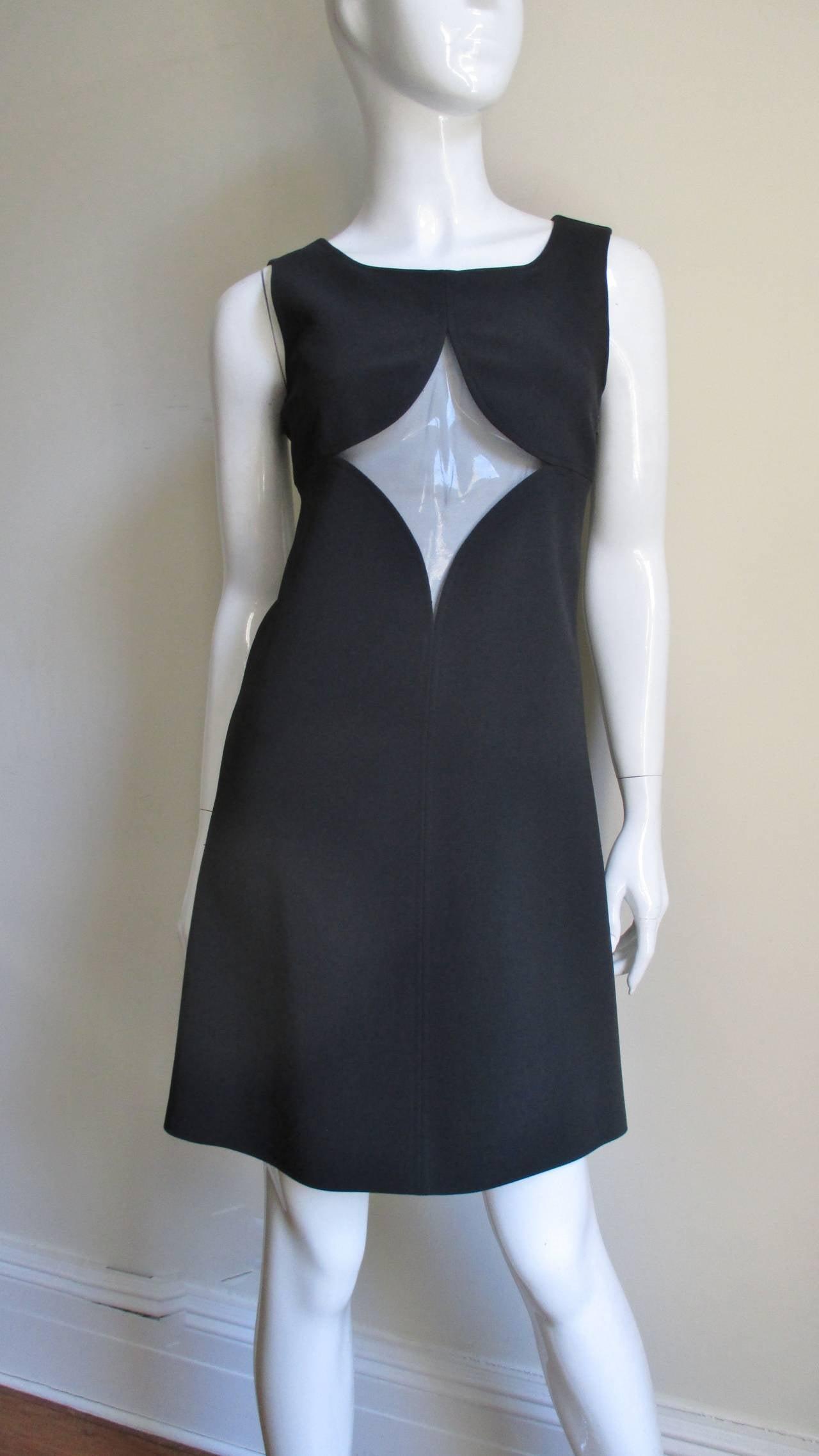 Black 1960s Courreges Cutouts Dress For Sale