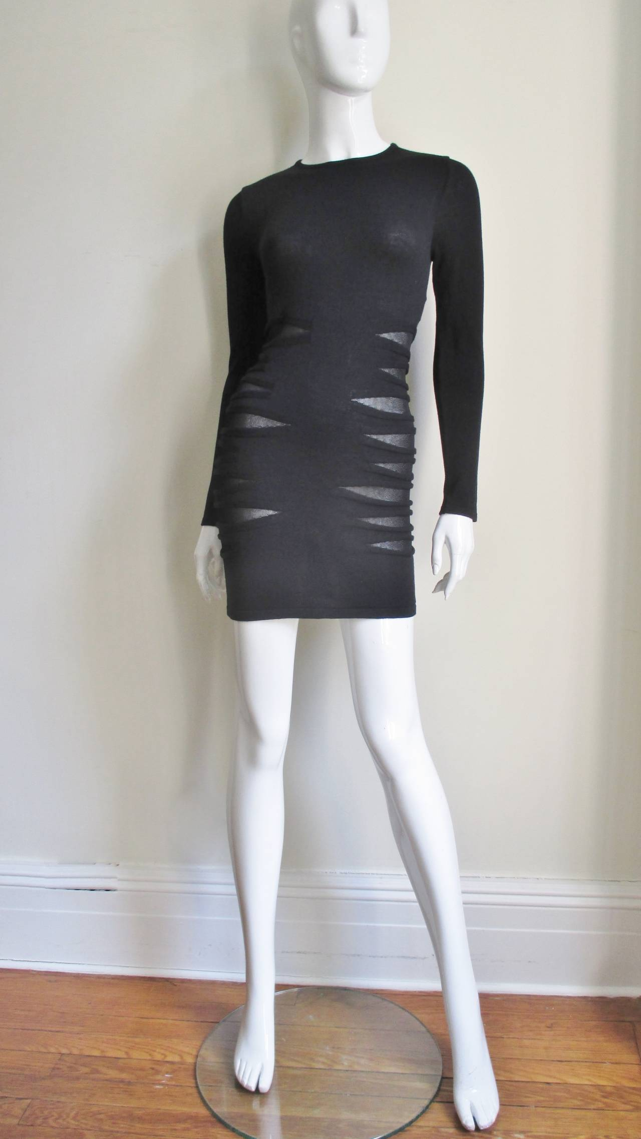 Versace Knit Dress With Mesh Cut-outs For Sale 1