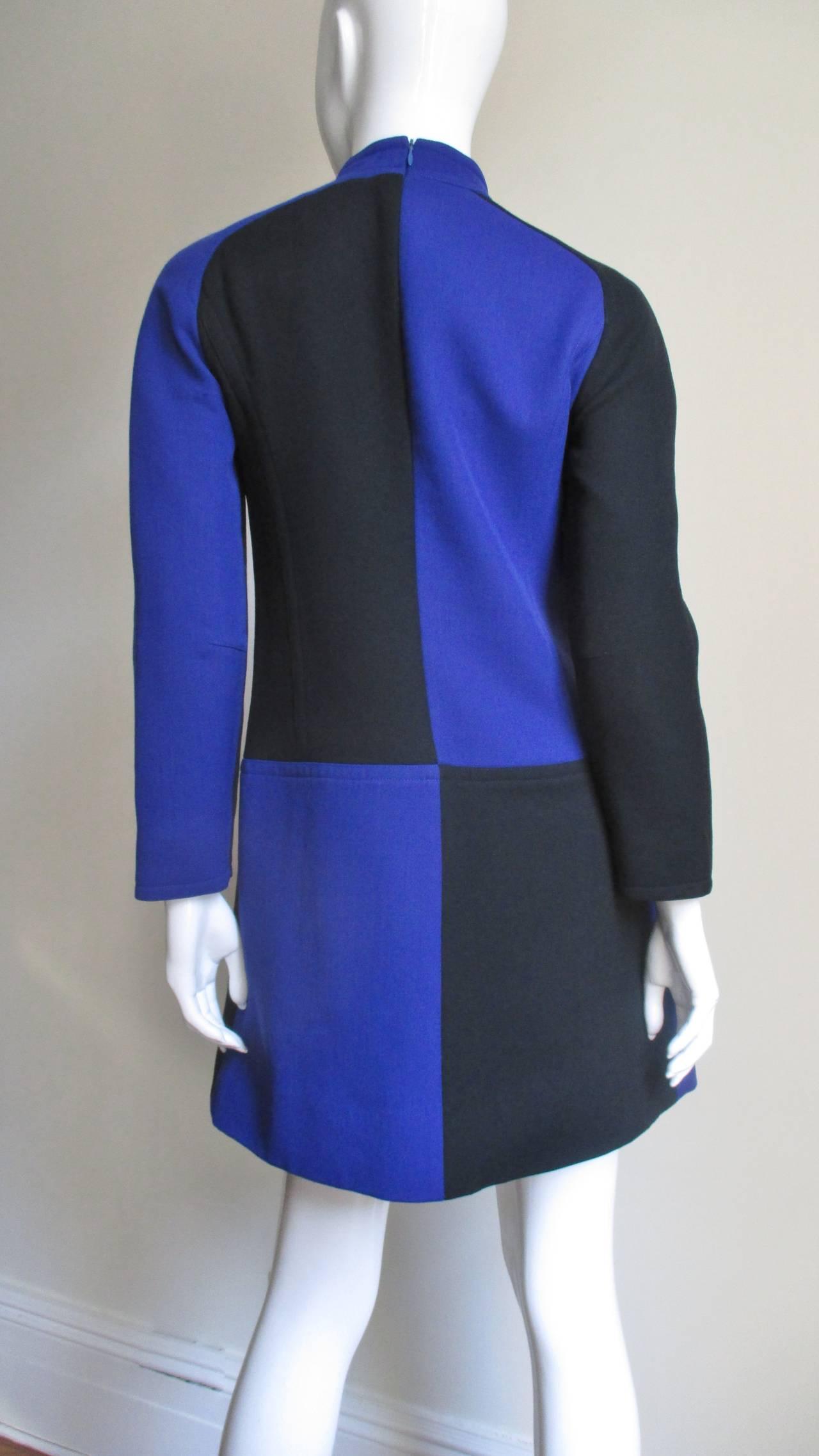 1970s Courreges Color Block Dress For Sale 3