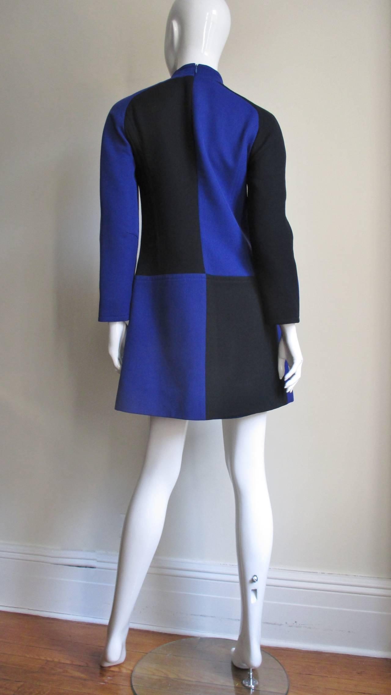 1970s Courreges Color Block Dress For Sale 4