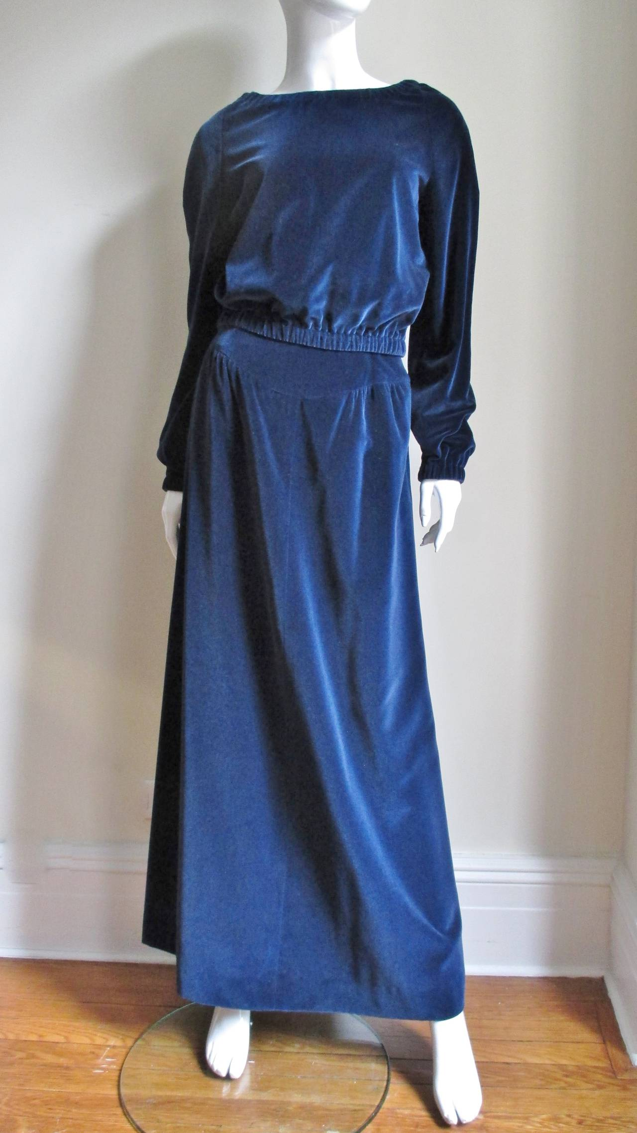 Early 1970's Courreges Velvet Maxi Skirt & Top In Excellent Condition For Sale In New York, NY