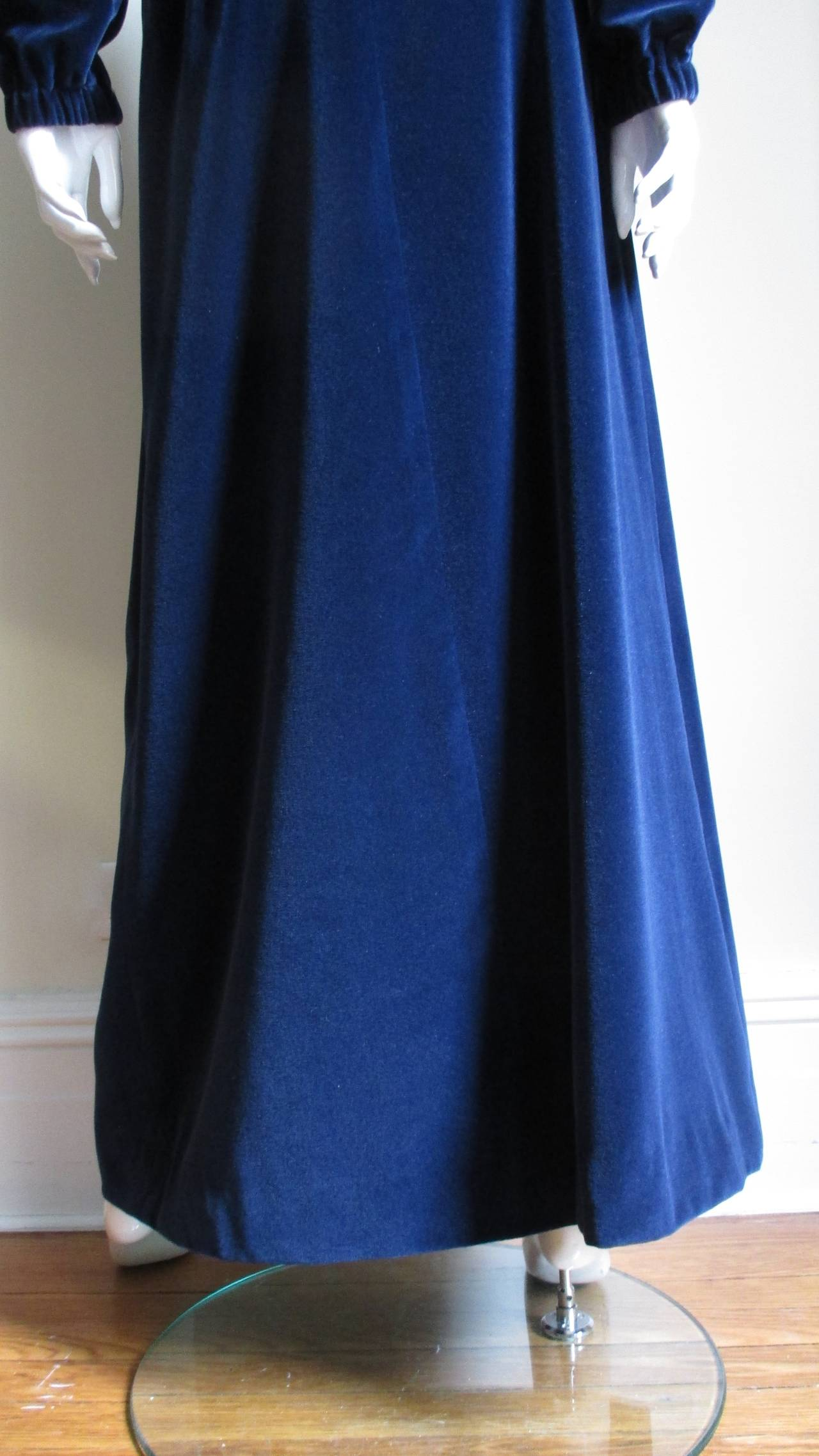 Early 1970's Courreges Velvet Maxi Skirt & Top For Sale 1