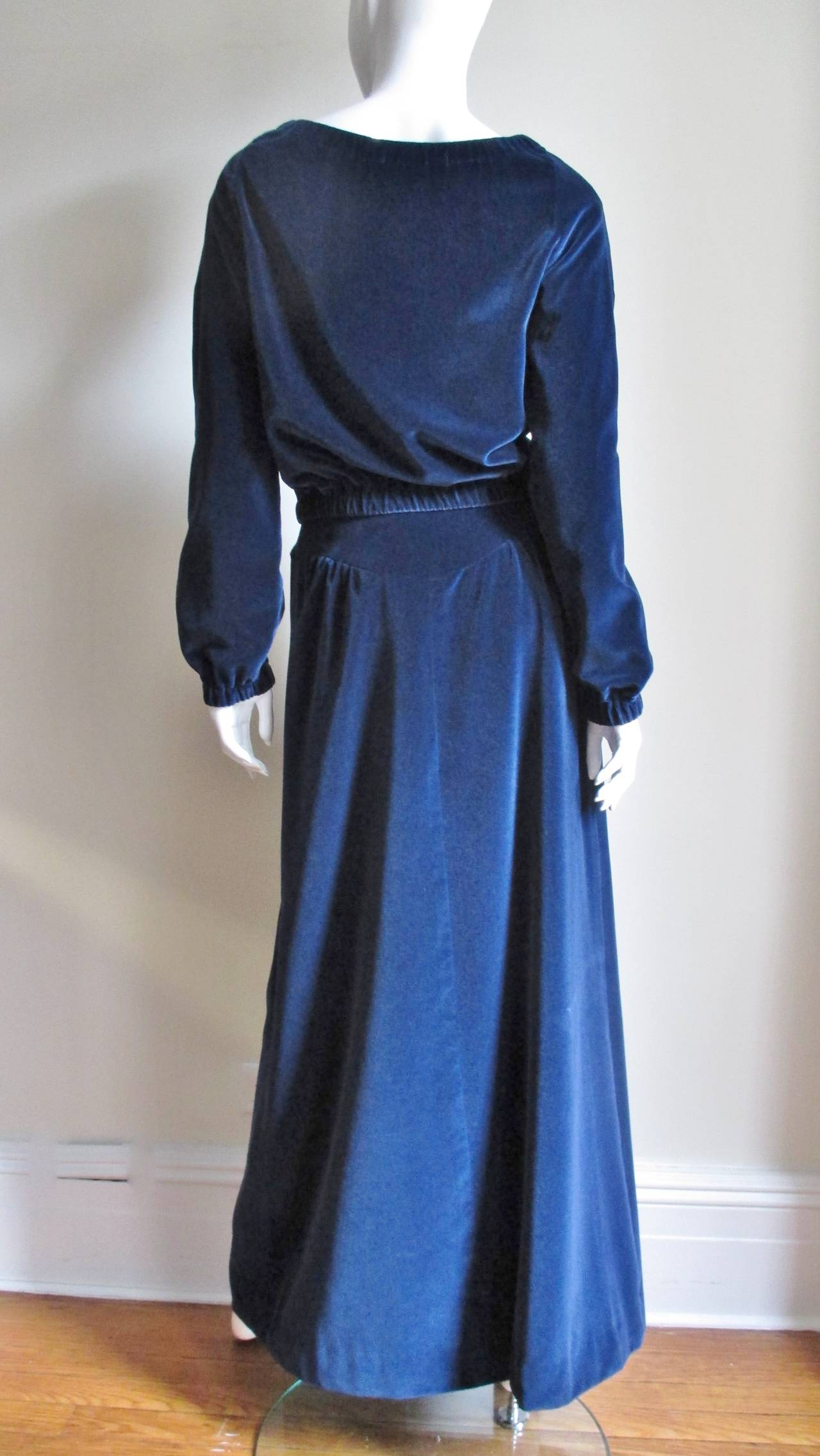 Early 1970's Courreges Velvet Maxi Skirt & Top For Sale 2