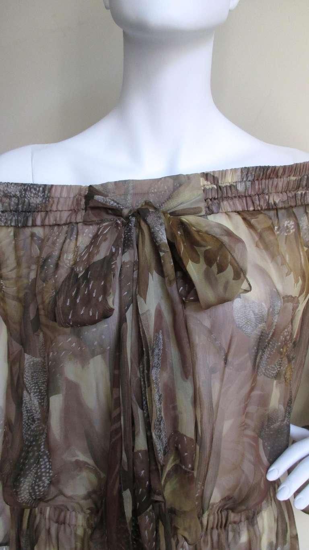 Versace Silk Cactus Print Off Shoulder Dress 3
