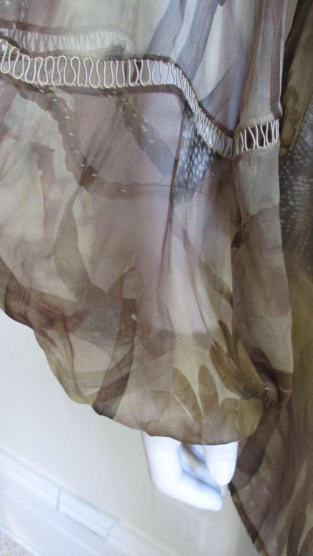 Versace Silk Cactus Print Off Shoulder Dress 5