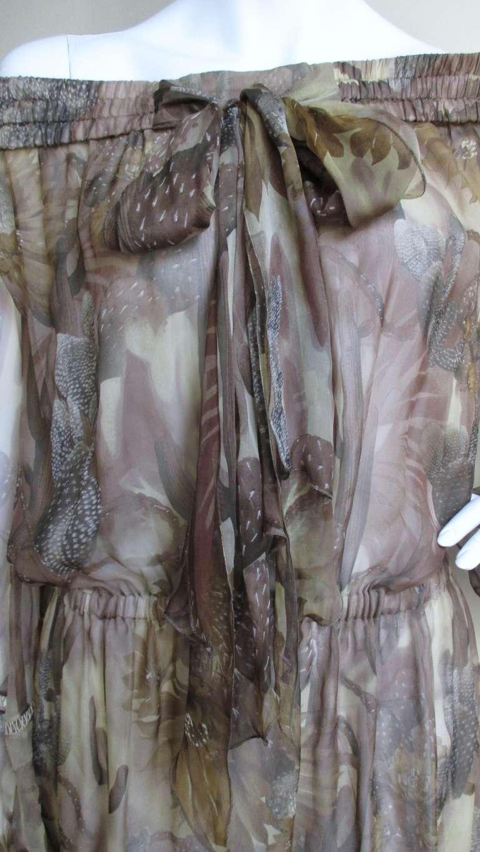 Versace Silk Cactus Print Off Shoulder Dress 2