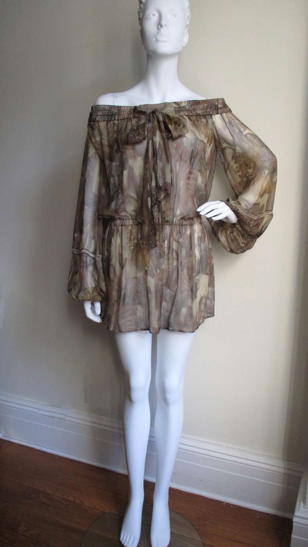 Versace Silk Cactus Print Off Shoulder Dress 4