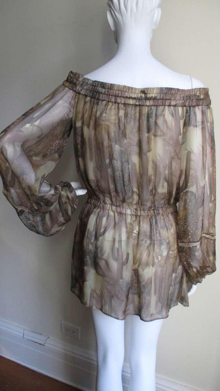 Versace Silk Cactus Print Off Shoulder Dress 7