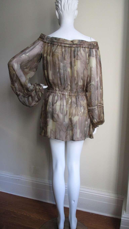 Versace Silk Cactus Print Off Shoulder Dress 8