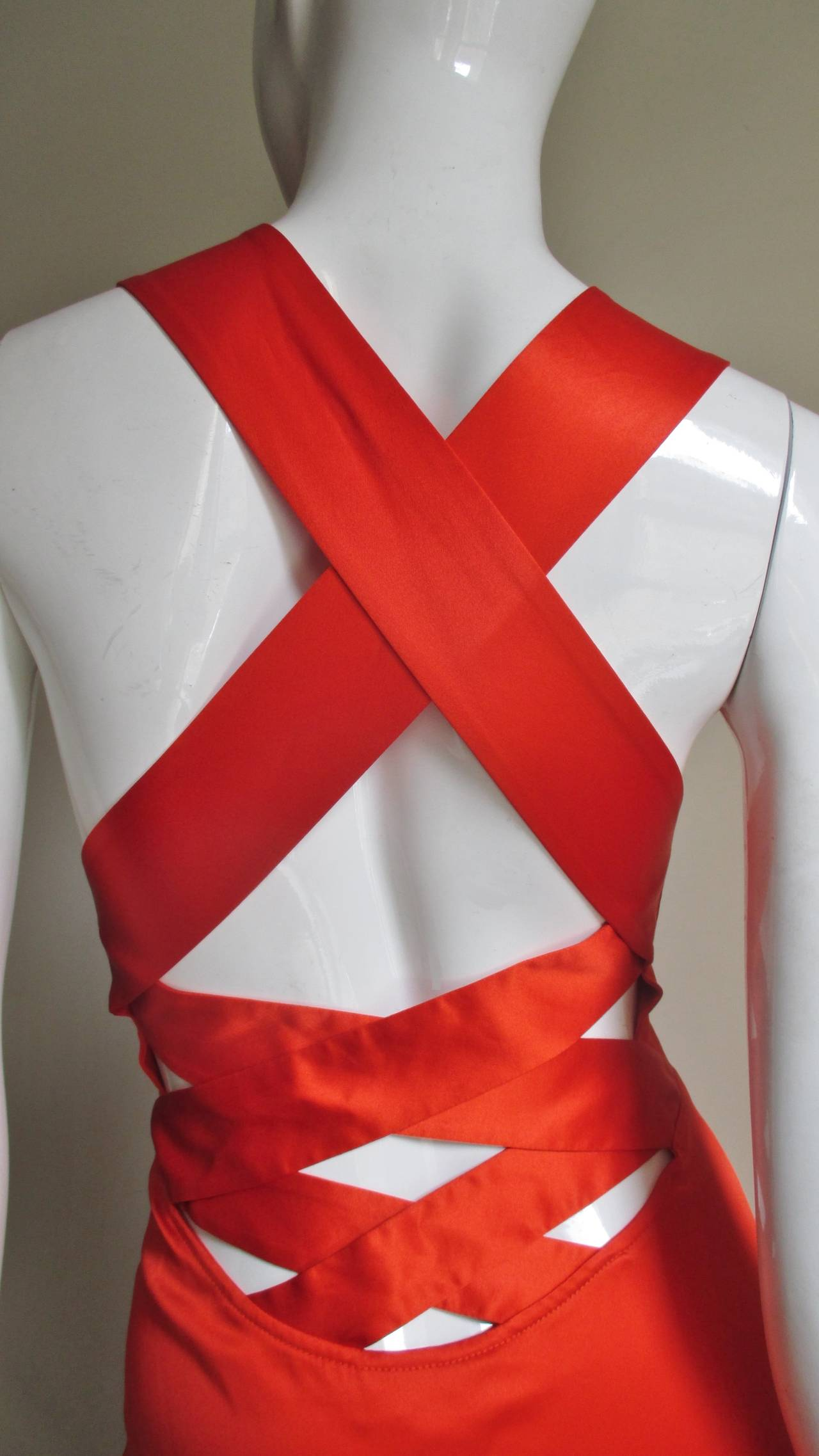 Red Versace Bodycon Plunge Front Cross Back Dress For Sale