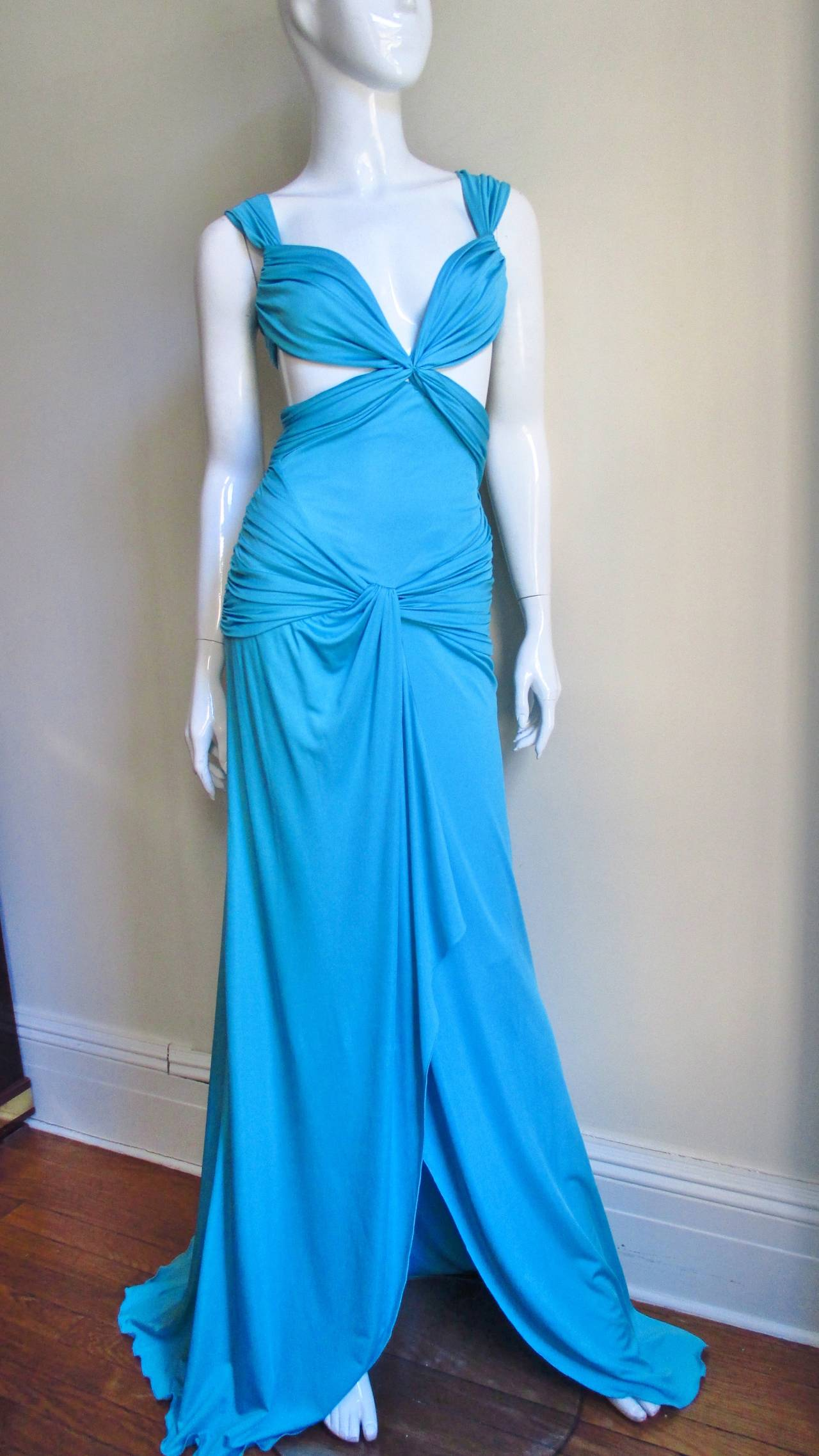 Gorgeous Blue Silk Valentino Gown With Cutouts 4