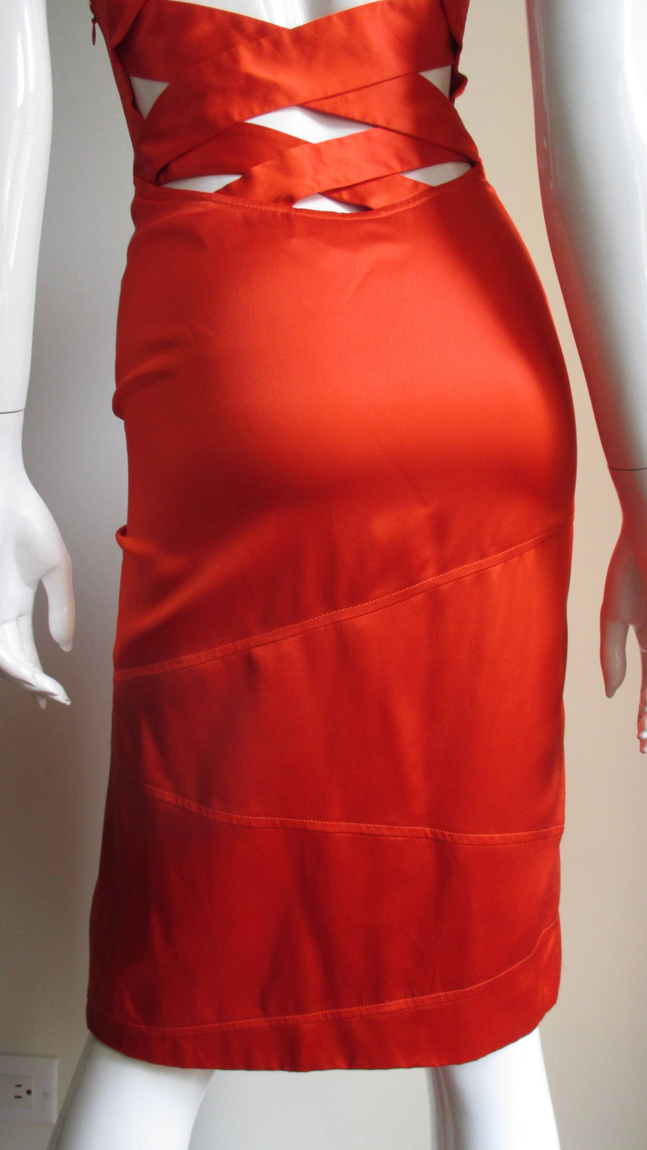 Versace Bodycon Plunge Front Cross Back Dress In Excellent Condition For Sale In New York, NY