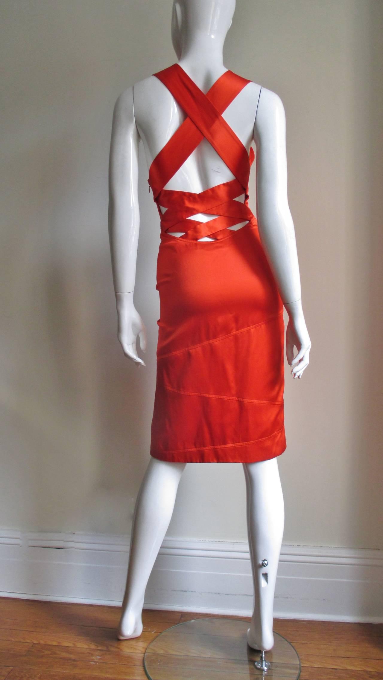 Women's Versace Bodycon Plunge Front Cross Back Dress For Sale