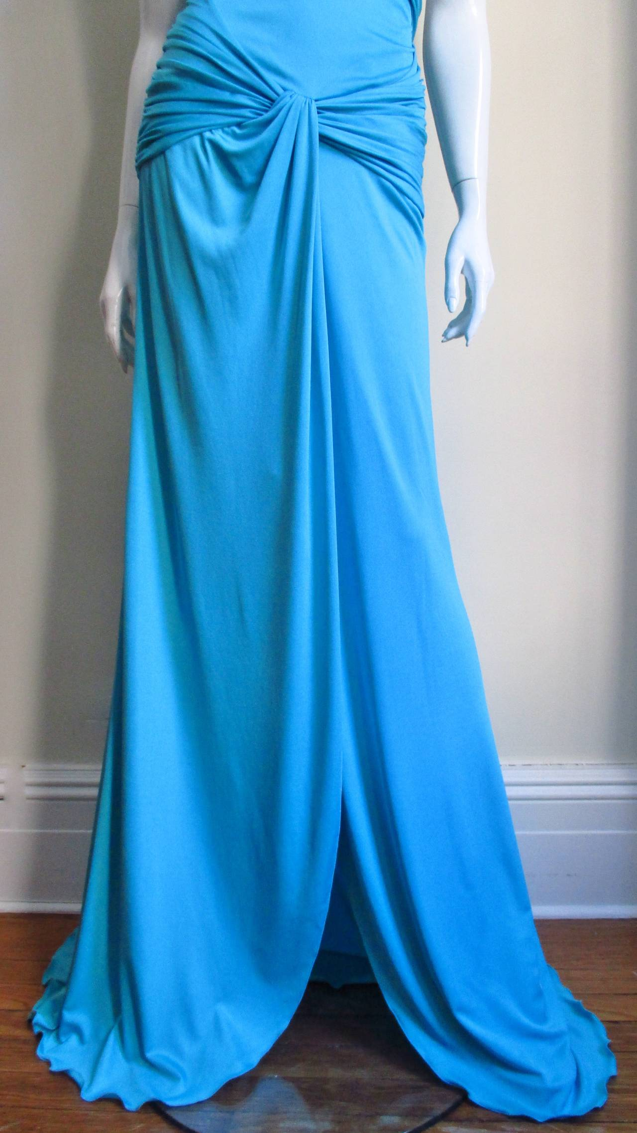 Gorgeous Blue Silk Valentino Gown With Cutouts 3