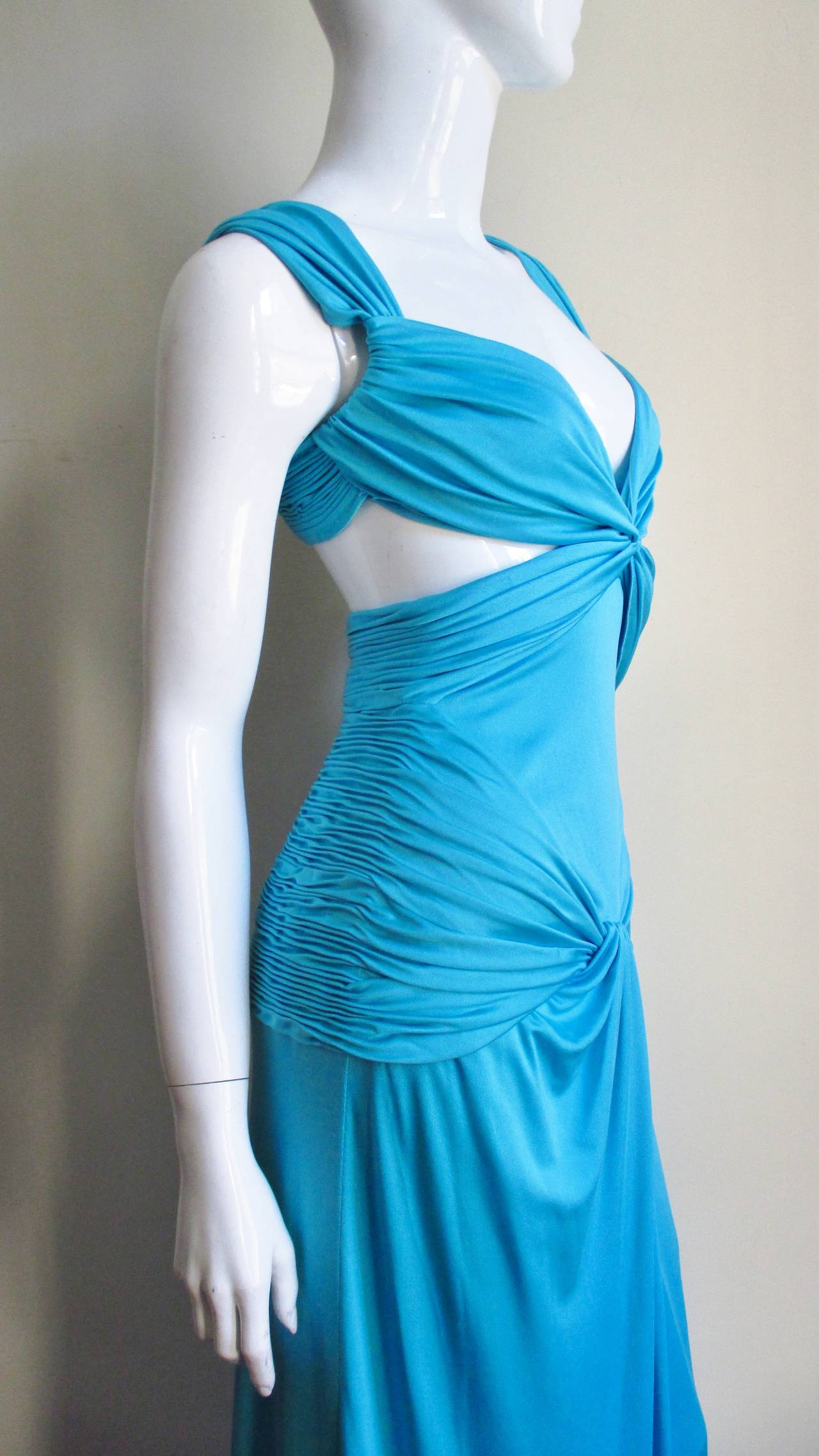 Gorgeous Blue Silk Valentino Gown With Cutouts 5