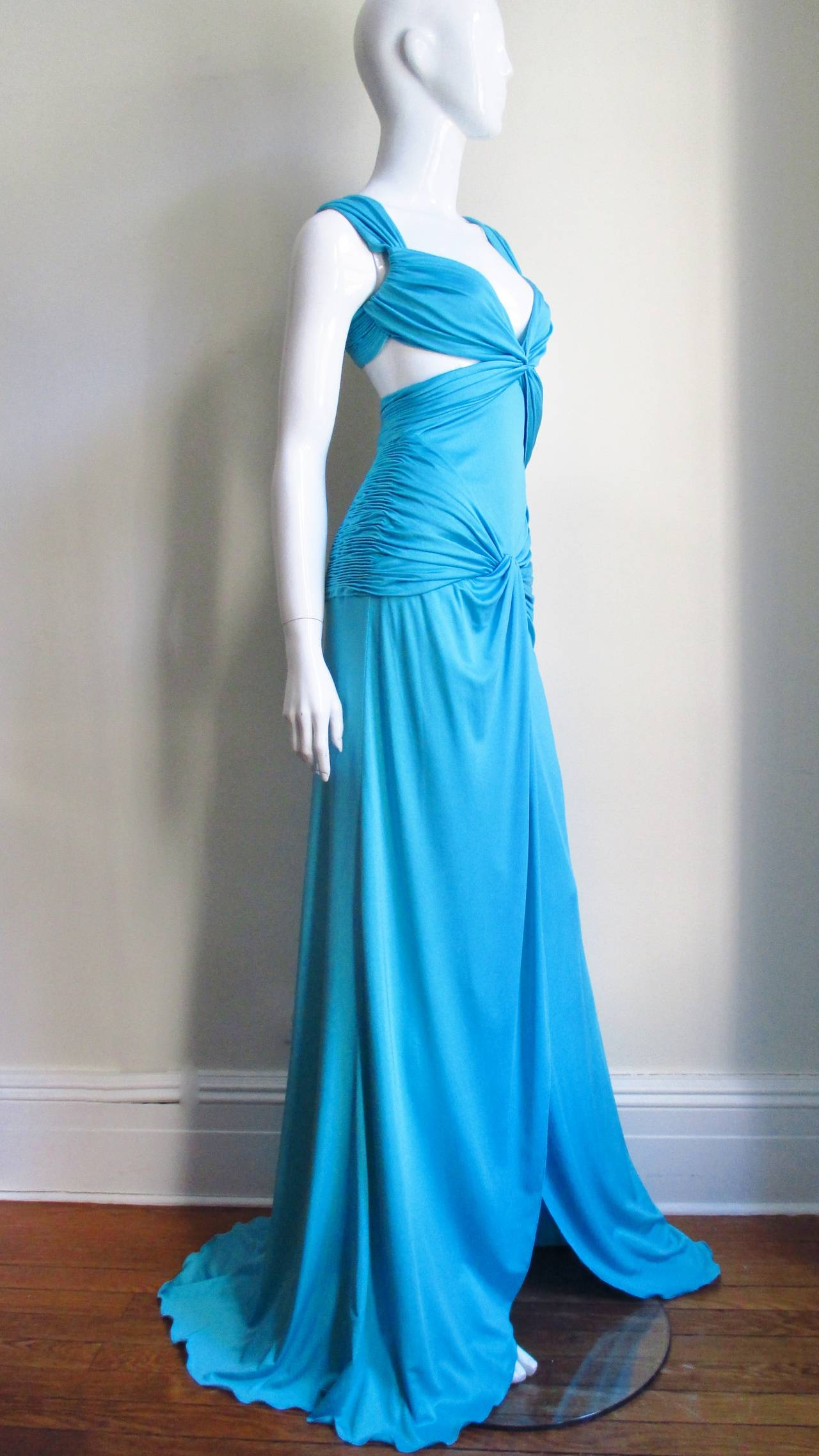Gorgeous Blue Silk Valentino Gown With Cutouts 6