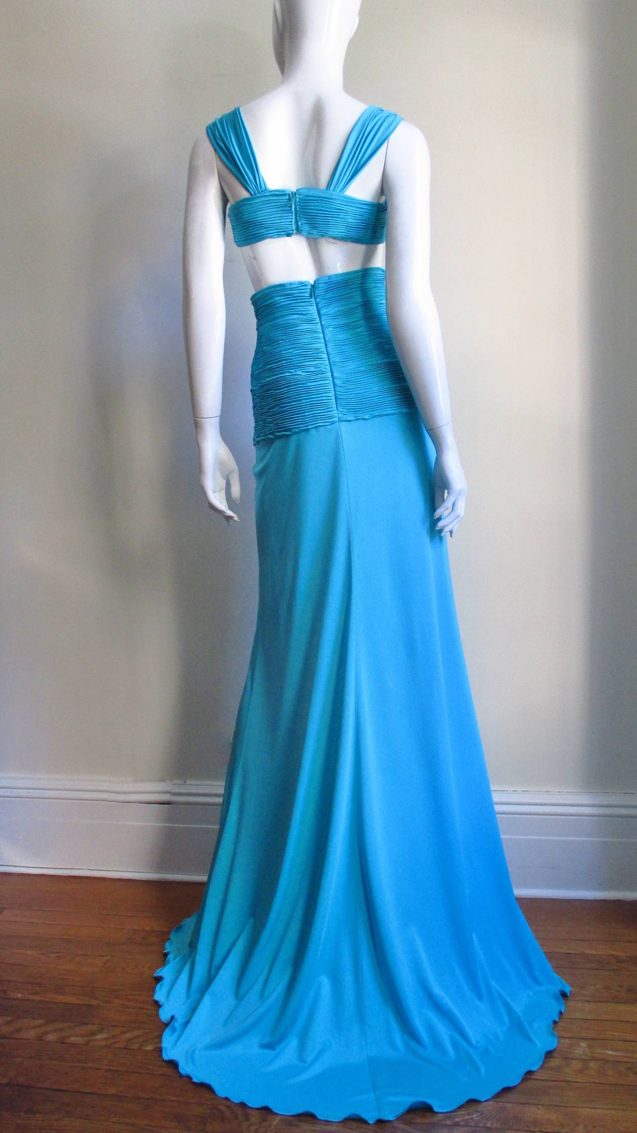 Gorgeous Blue Silk Valentino Gown With Cutouts 9