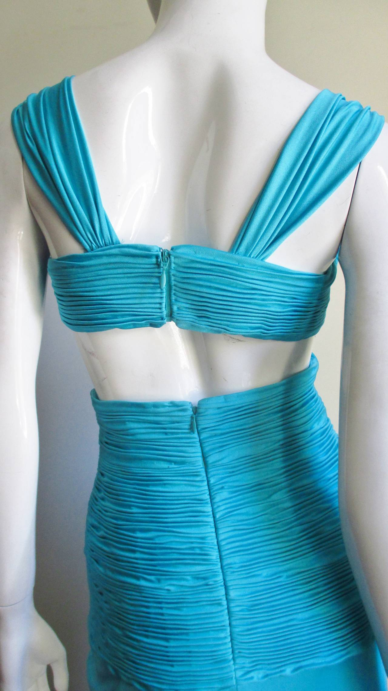 Gorgeous Blue Silk Valentino Gown With Cutouts 8