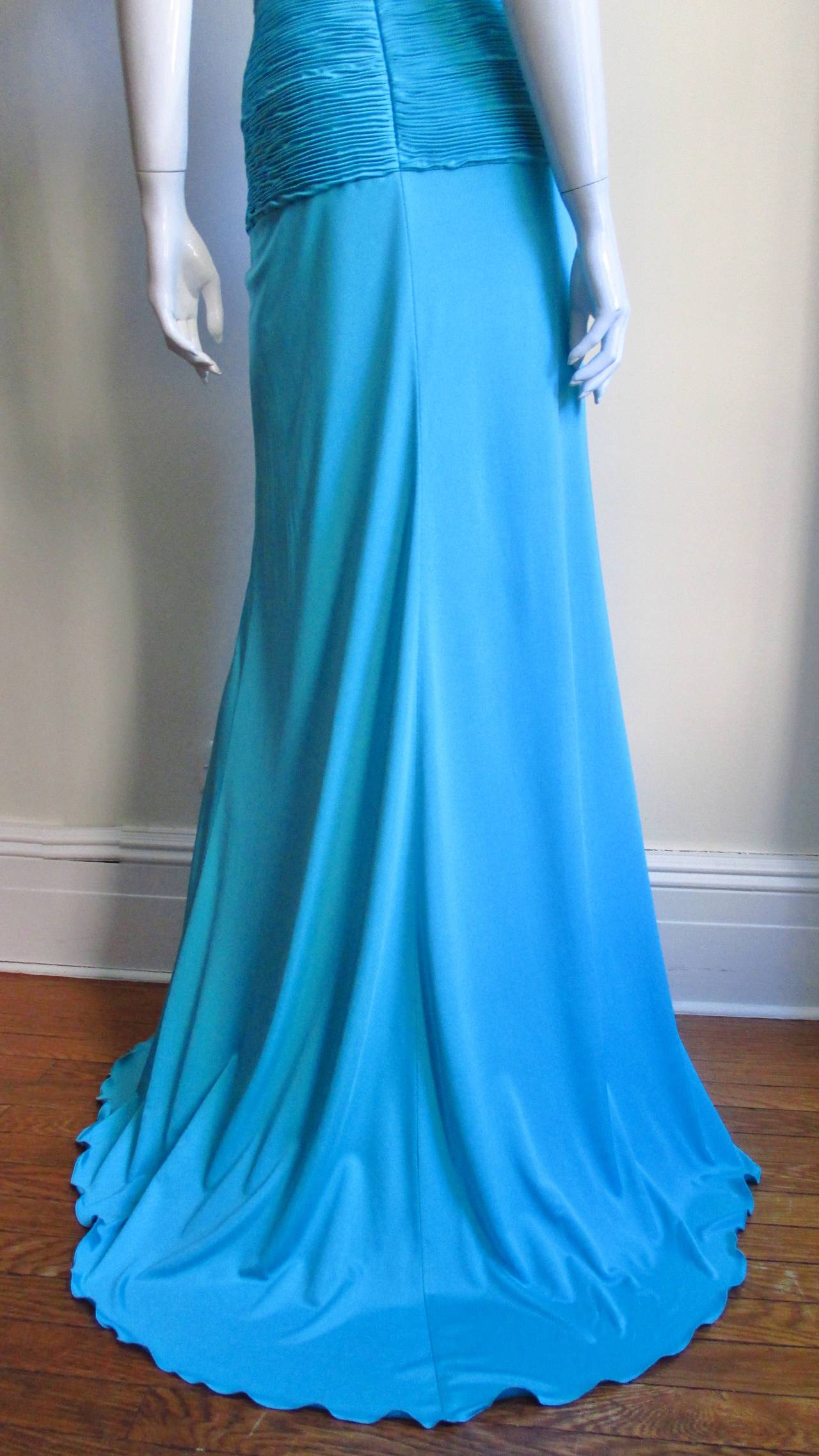 Gorgeous Blue Silk Valentino Gown With Cutouts 7