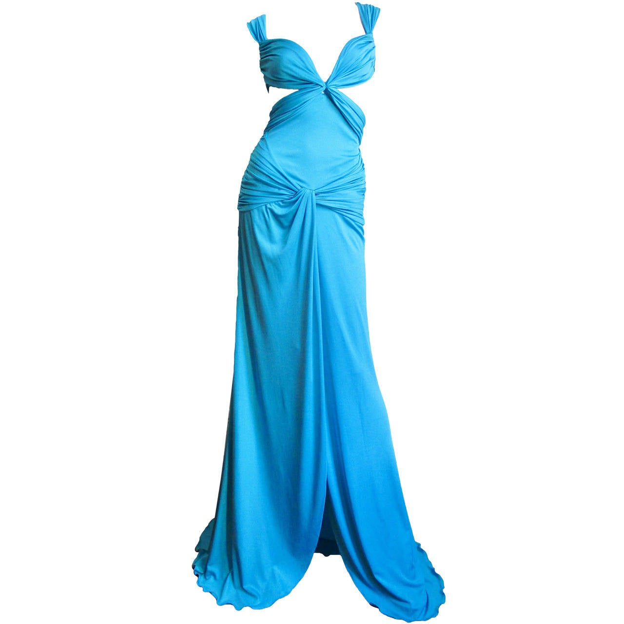 Gorgeous Blue Silk Valentino Gown With Cutouts 1