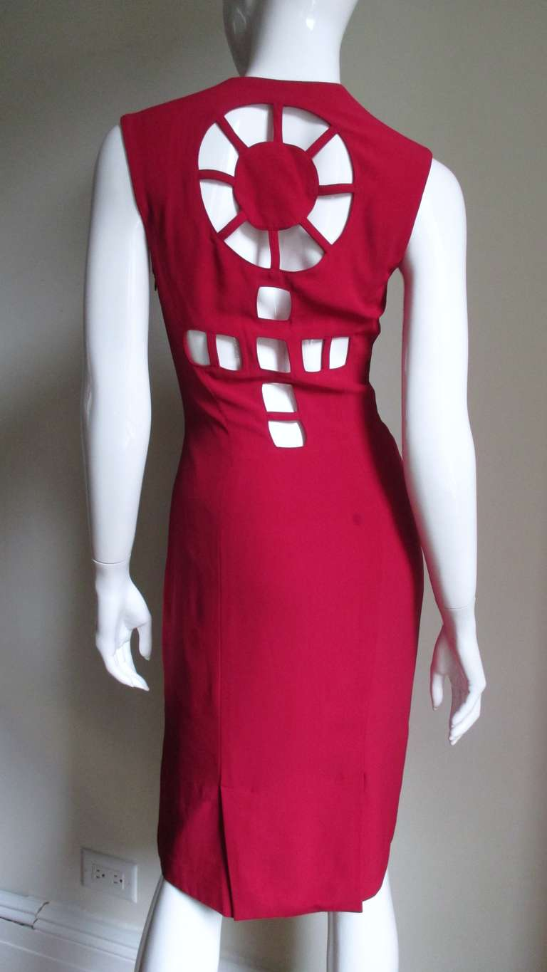 1980s Sophie Stibon Cutout Cross and Circle Dress For Sale 1