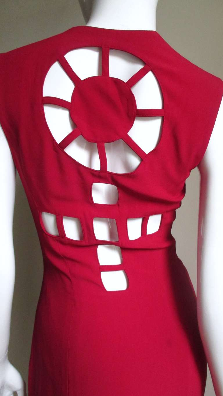 1980s Sophie Stibon Cutout Cross and Circle Dress For Sale 2