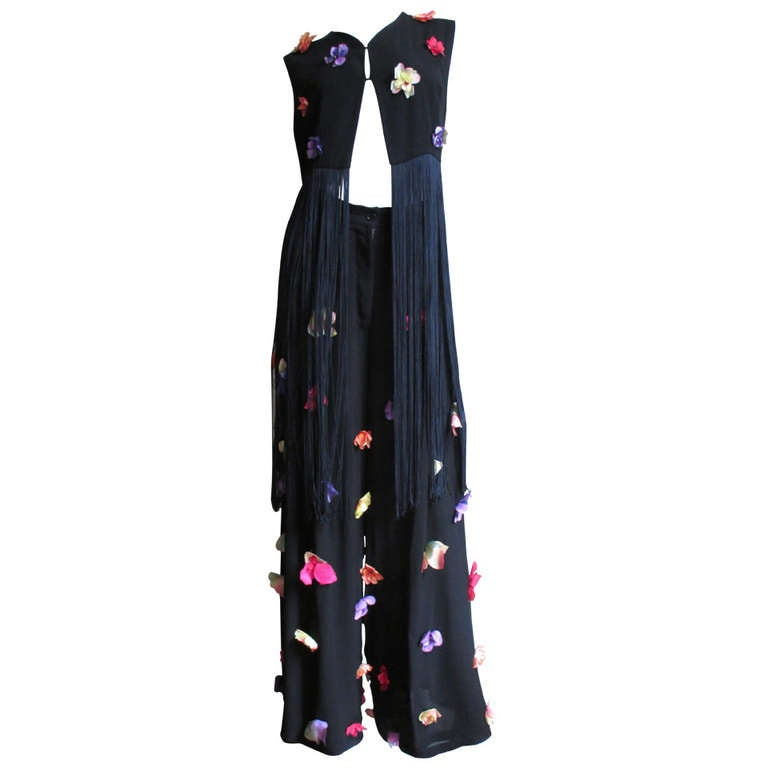 1990s Dolce & Gabbana Flower Applique Fringe Top & Pants For Sale