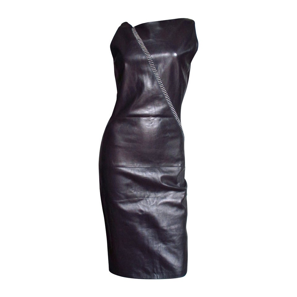 Gianni Versace Leather Dress With Chains 1