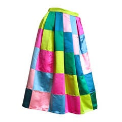 1950's Hattie Carnegie Silk Patchwork Skirt