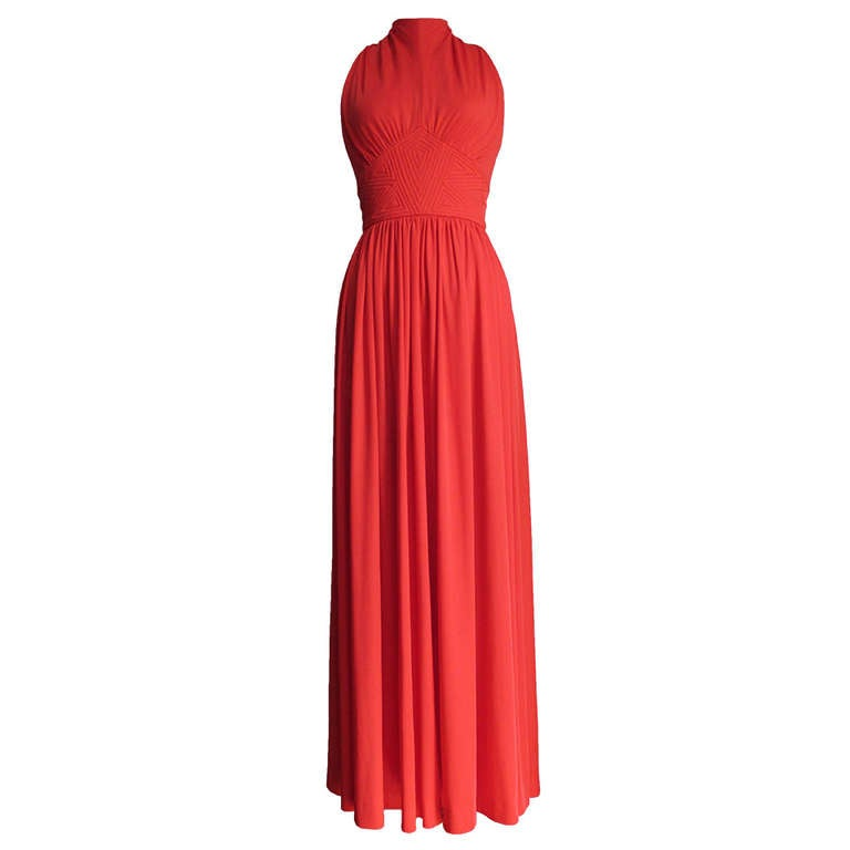 1970s Donald Brooks Trapunto Embroidered Maxi