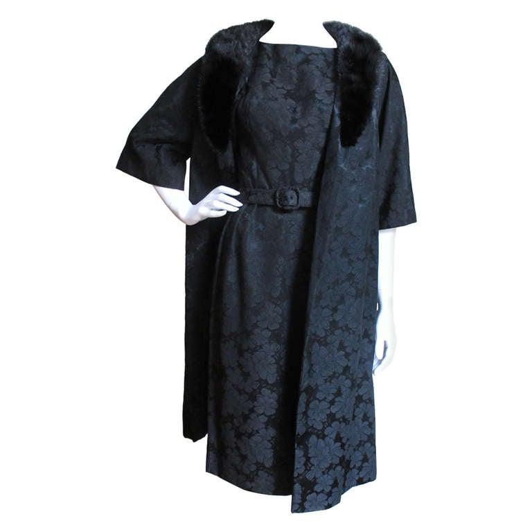 1950s Lillie Diamond Silk Damask Dress & Mink Collar Coat