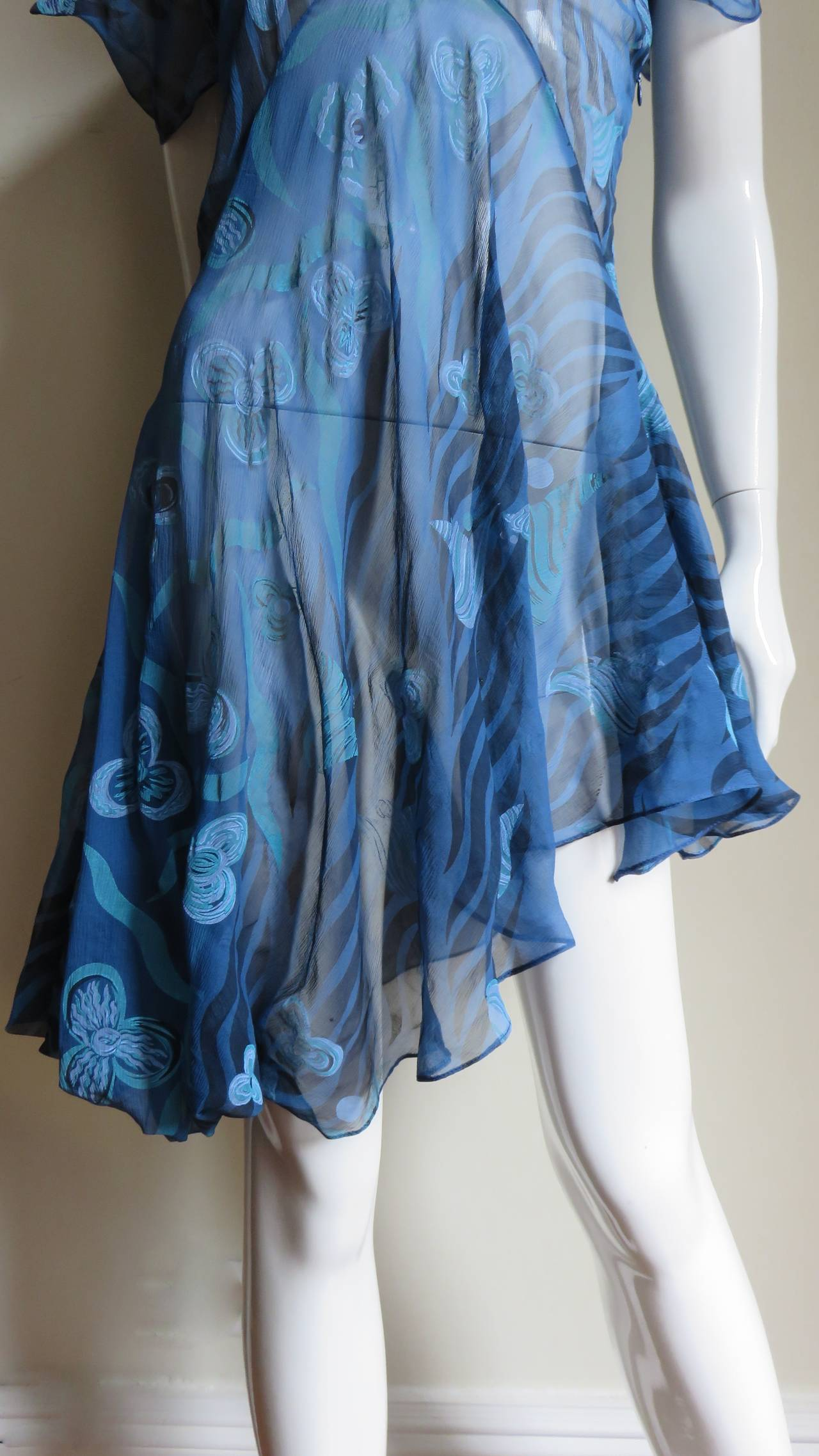 1990s Zandra Rhodes Asymmetric Silk Screen Print Dress For Sale 1
