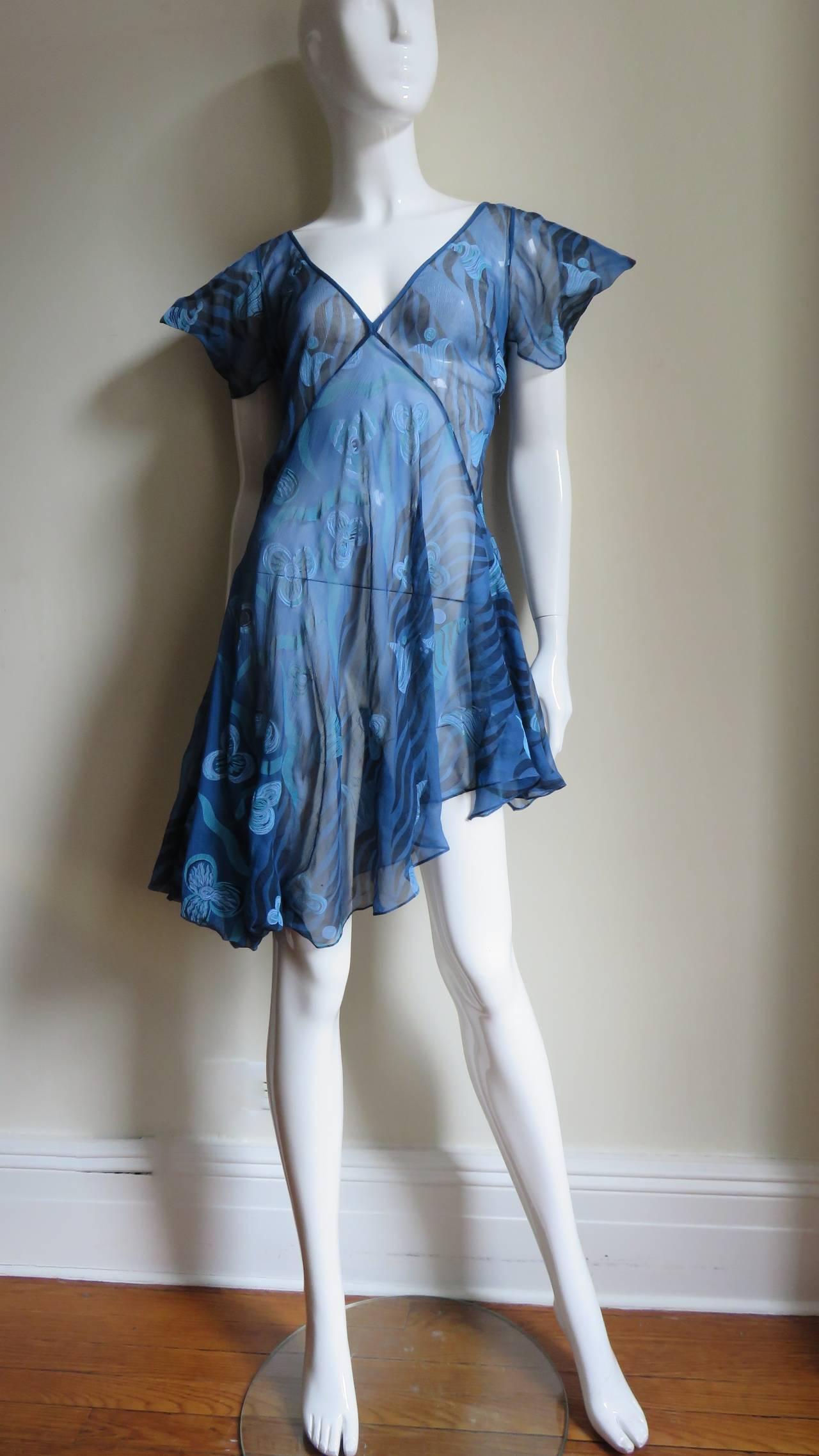 Women's 1990s Zandra Rhodes Asymmetric Silk Screen Print Dress For Sale