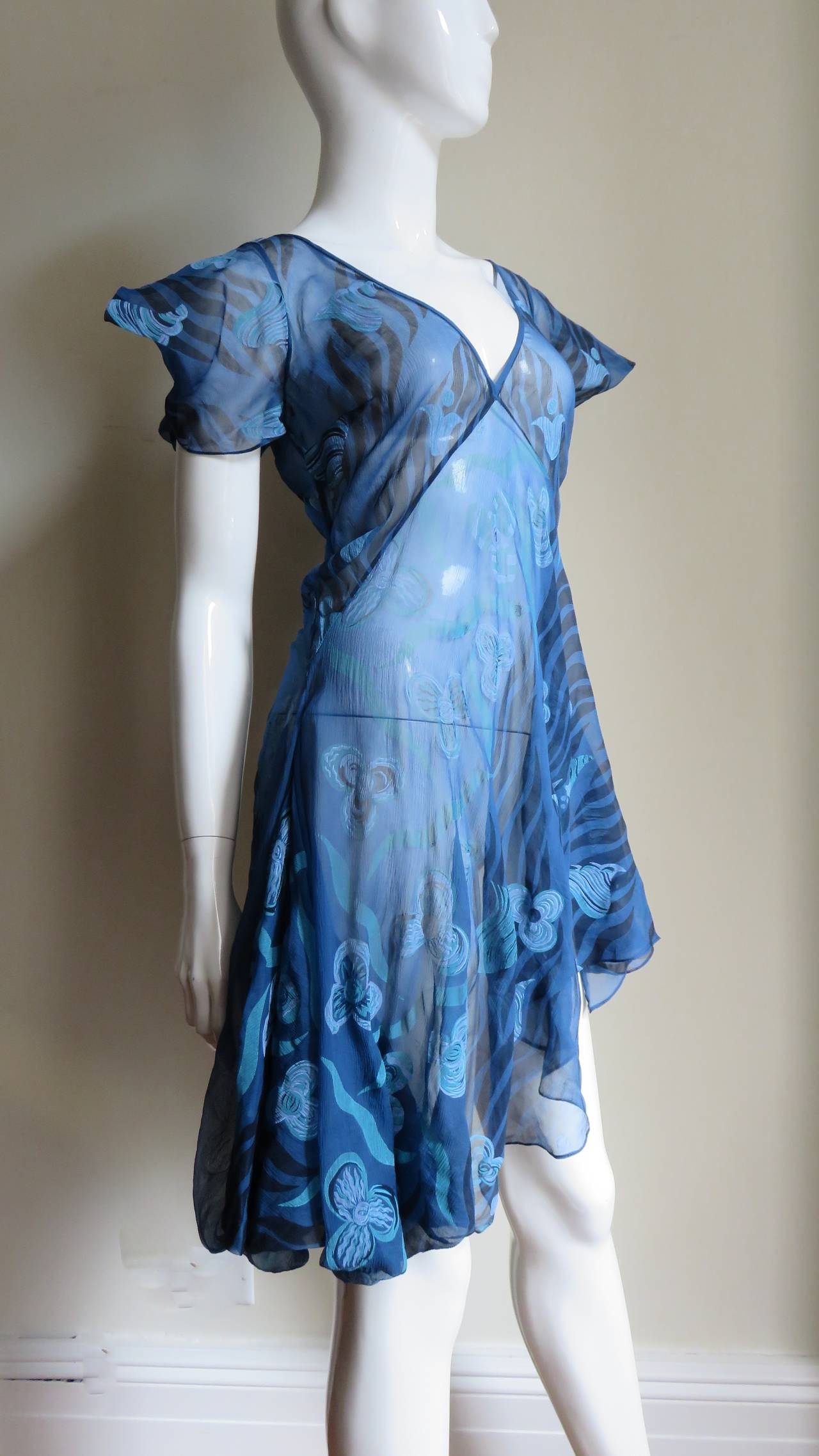 1990s Zandra Rhodes Asymmetric Silk Screen Print Dress For Sale 3