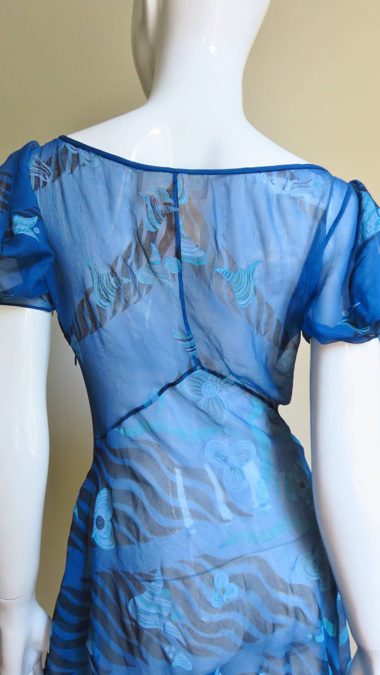 1990s Zandra Rhodes Asymmetric Silk Screen Print Dress For Sale 6