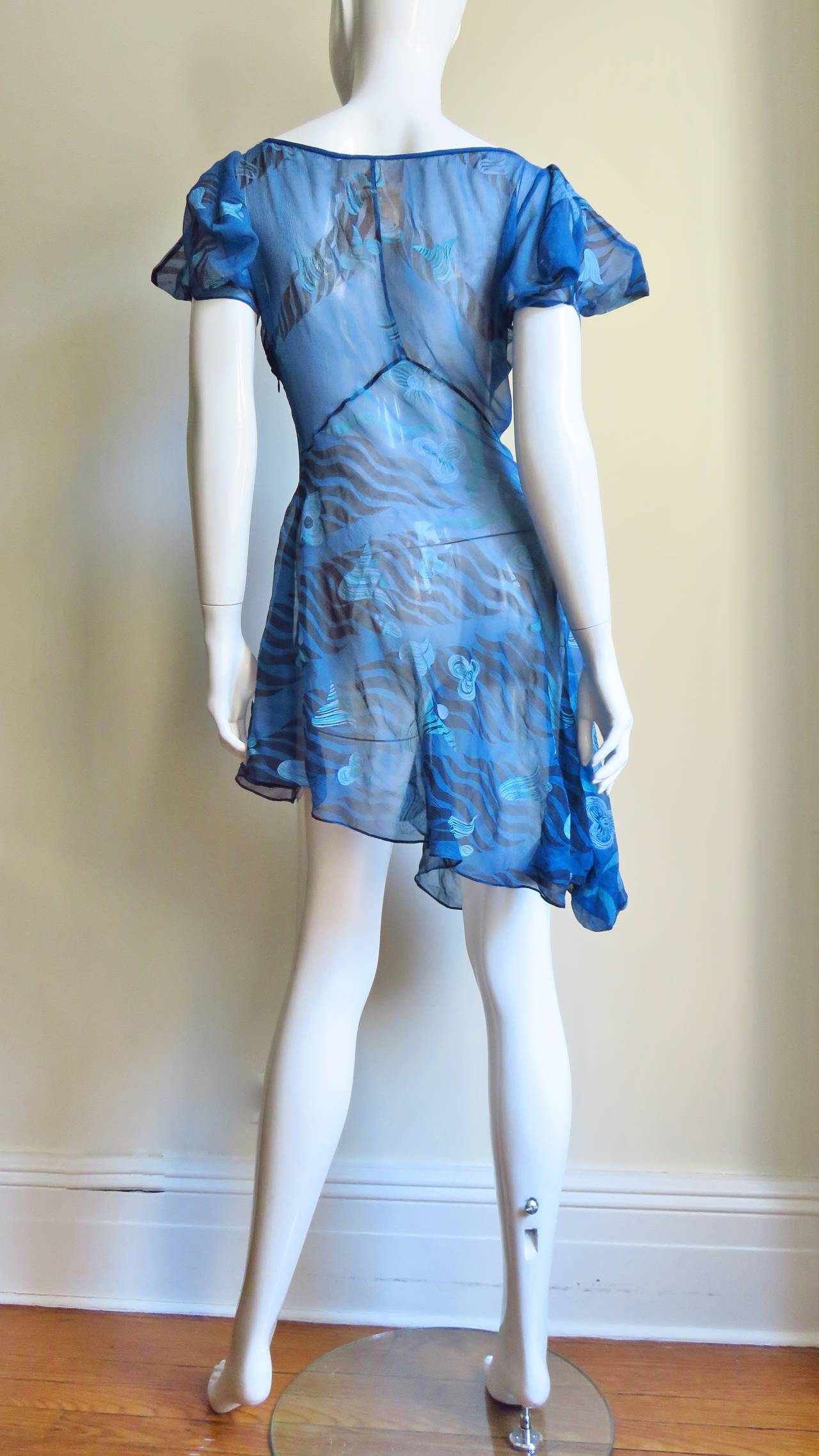 1990s Zandra Rhodes Asymmetric Silk Screen Print Dress For Sale 8