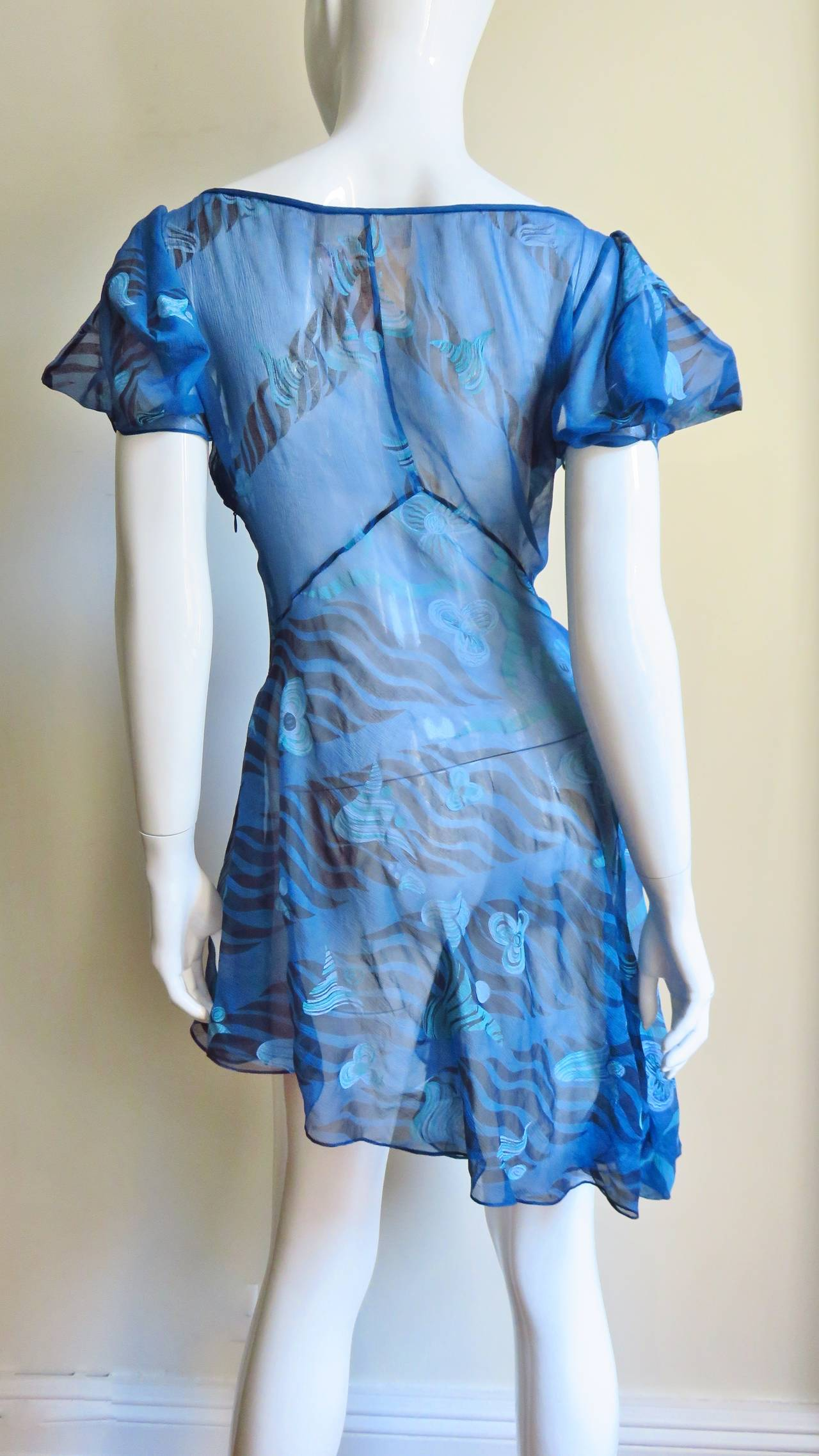 1990s Zandra Rhodes Asymmetric Silk Screen Print Dress For Sale 5