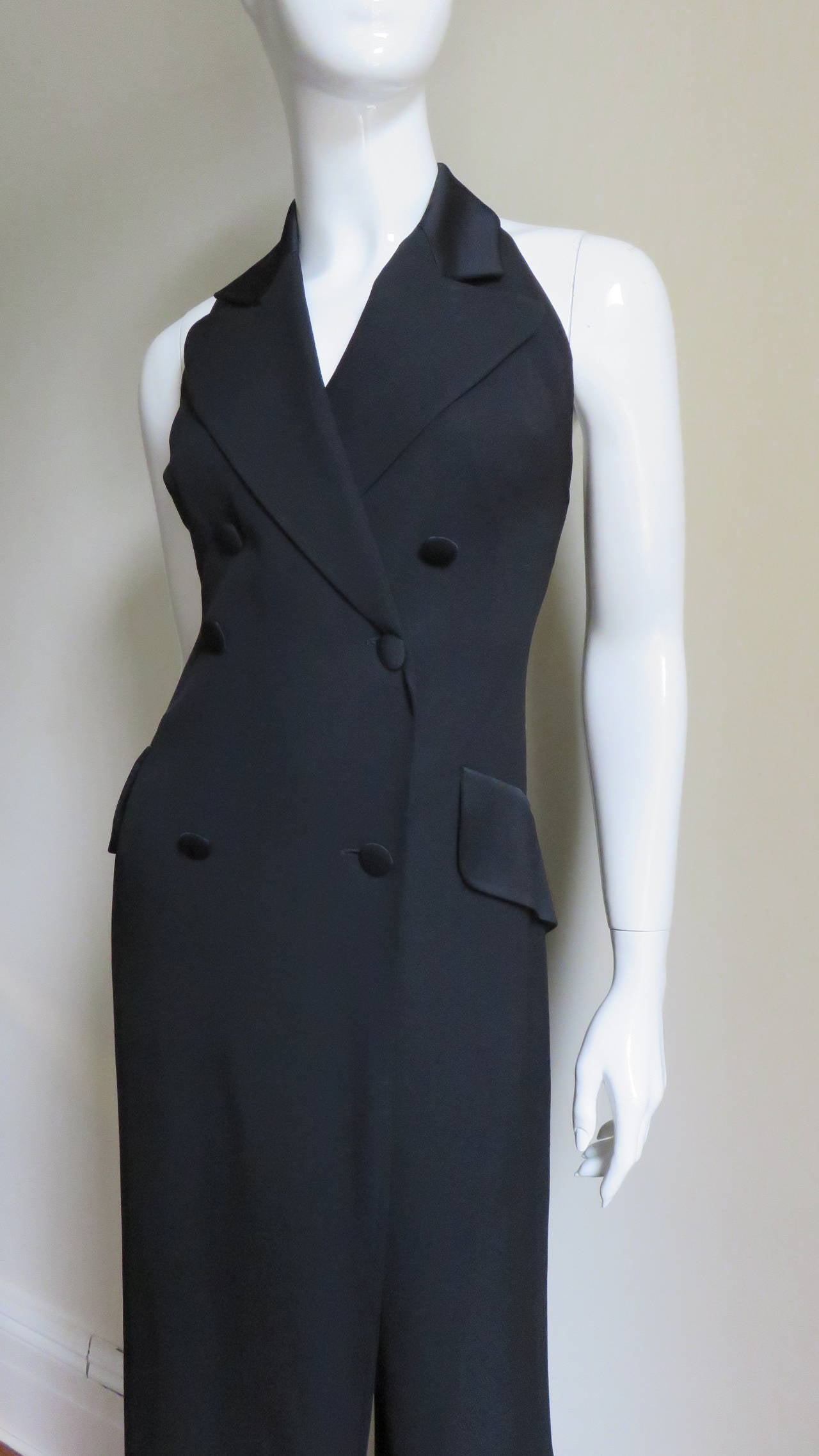 Black 1990s Moschino Halter Tux Jumpsuit  For Sale