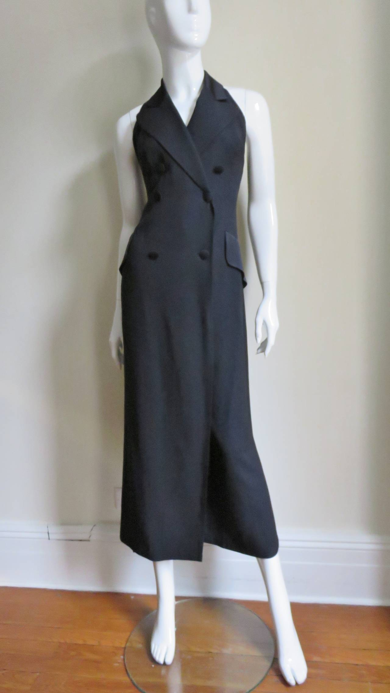 1990s Moschino Halter Tux Jumpsuit  For Sale 2