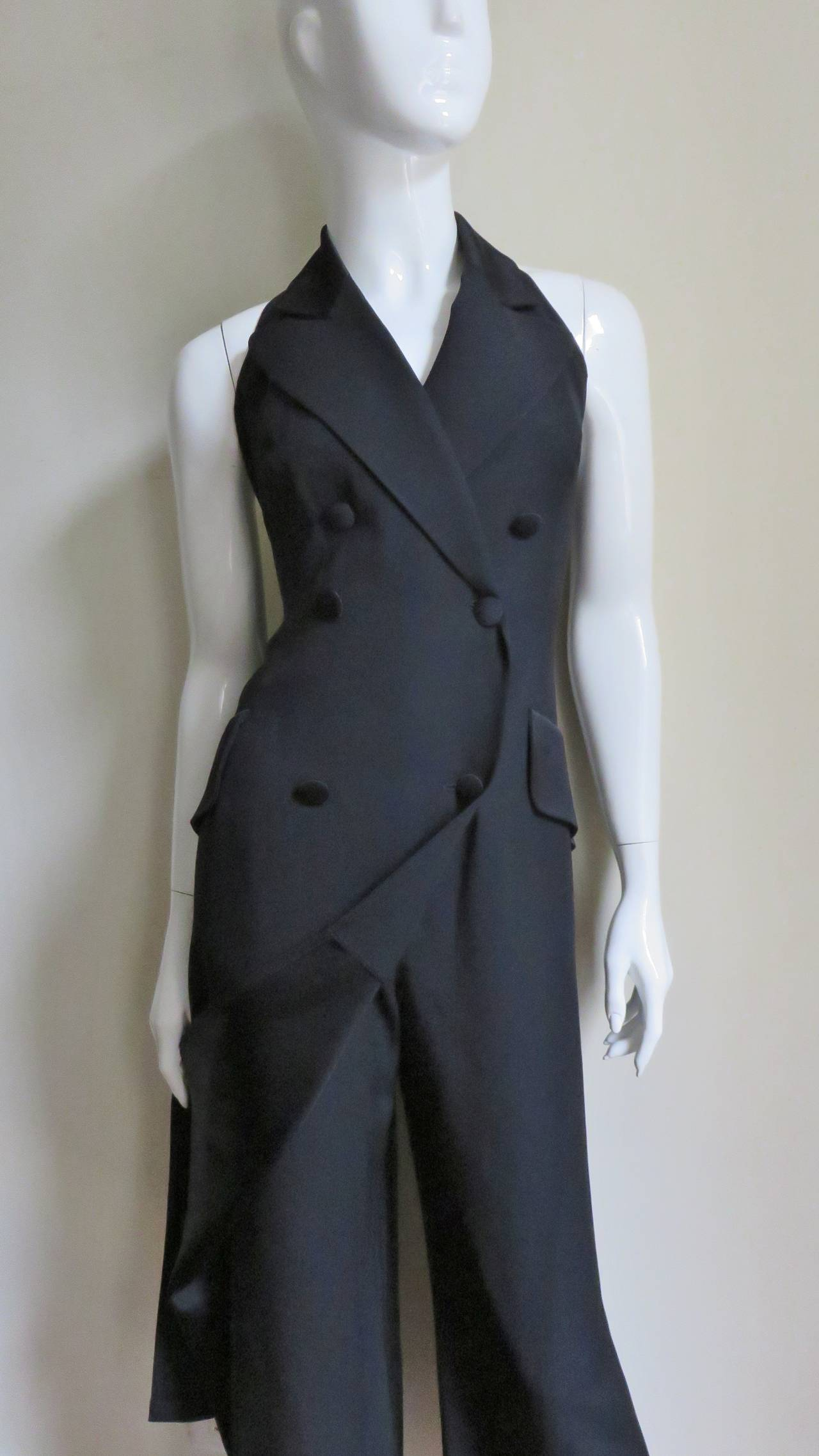 1990s Moschino Halter Tux Jumpsuit  In Excellent Condition For Sale In New York, NY